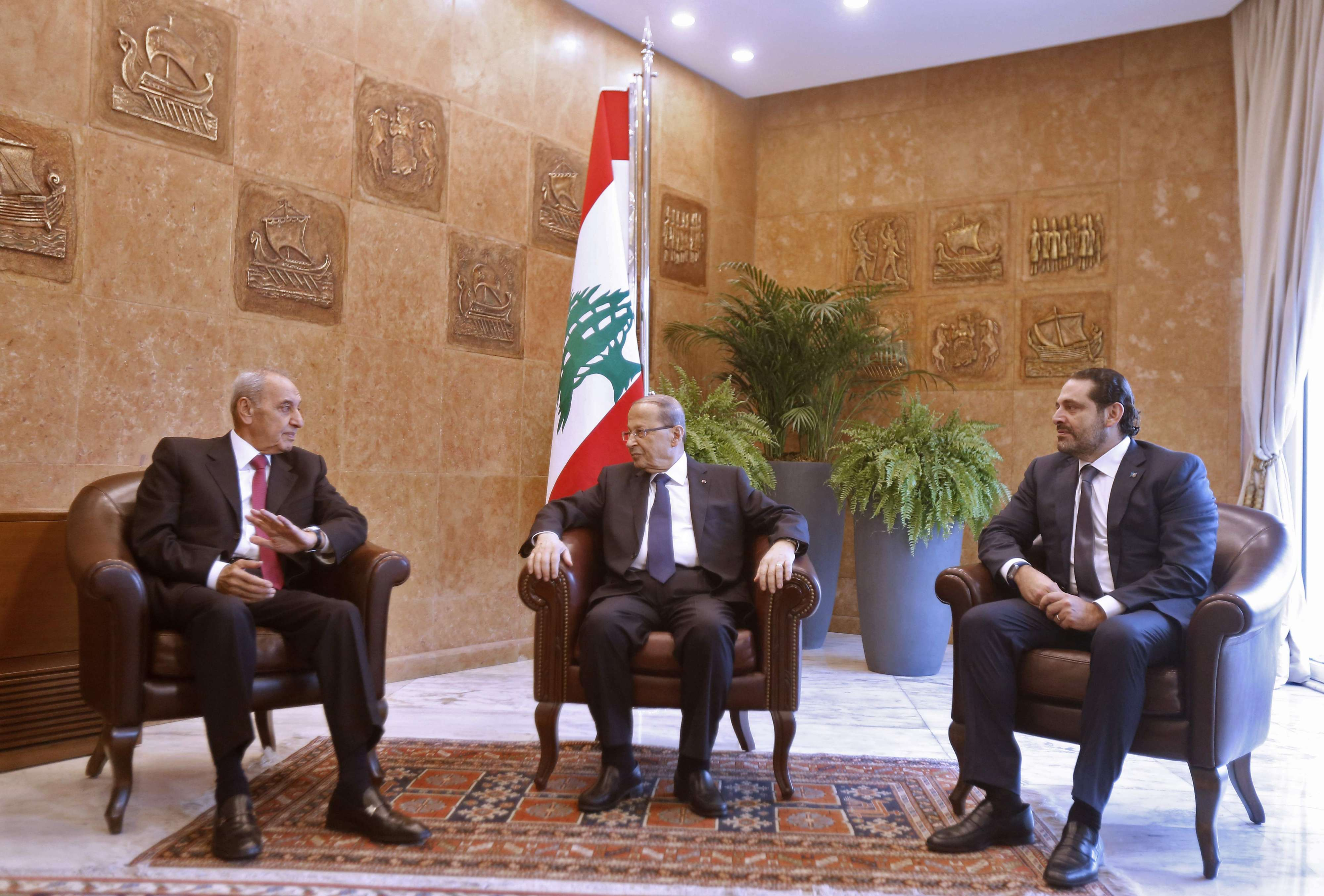 In hot water. Lebanese Prime Minister Saad Hariri (R), President Michel Aoun (C) and Parliament Speaker Nabih Berri at the presidential palace in Baadba, last November. (AFP)