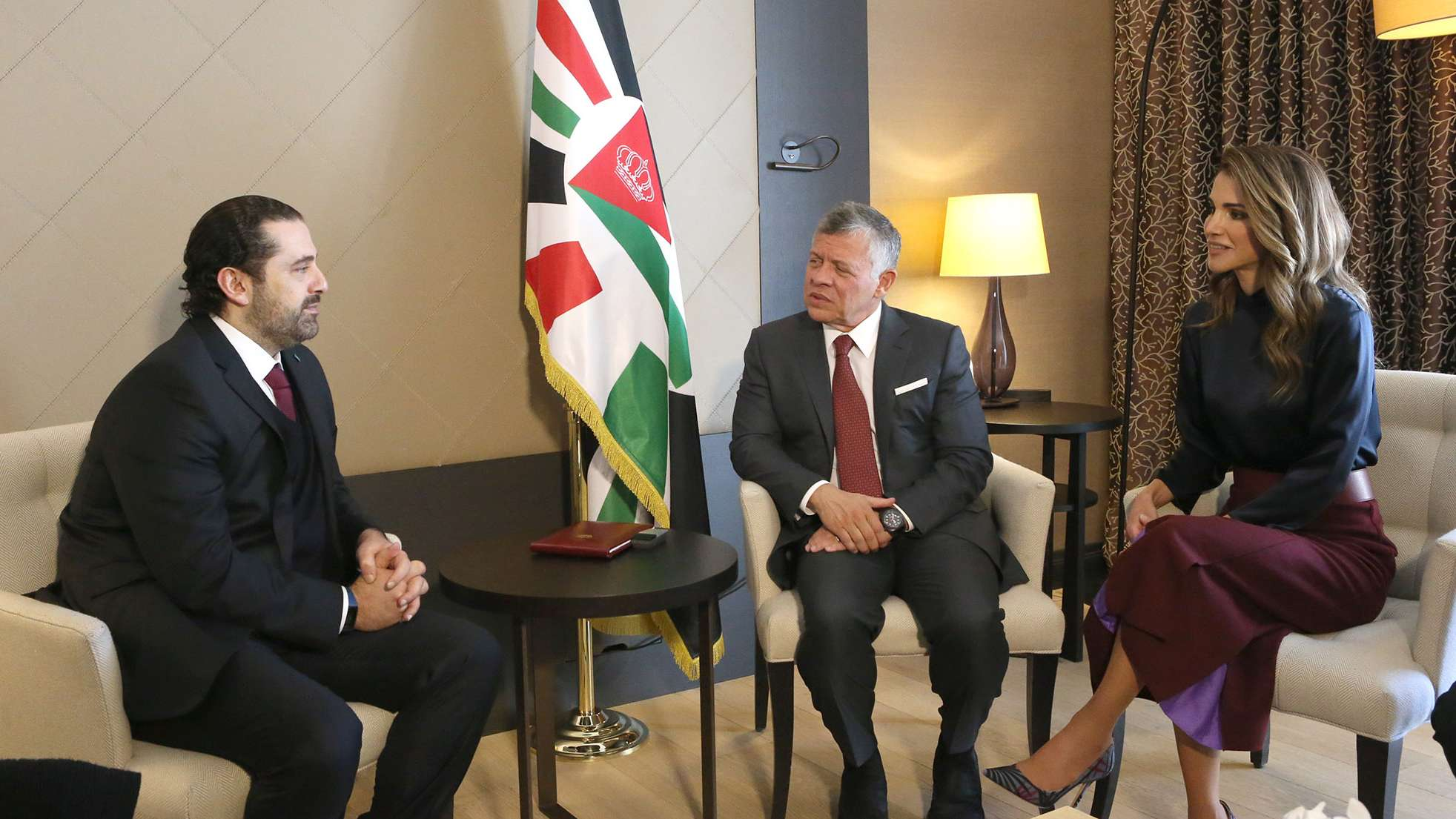 New realities. Lebanese Prime Minister Saad Hariri (L) Jordanian King Abdullah II (C) and Queen Rania of Jordan speak during the annual World Economic Forum (WEF) in Davos, on January 24. (The Jordanian Royal Palace)