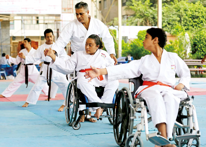 Disabled karate athletes attend training in Cairo. (Reuters)