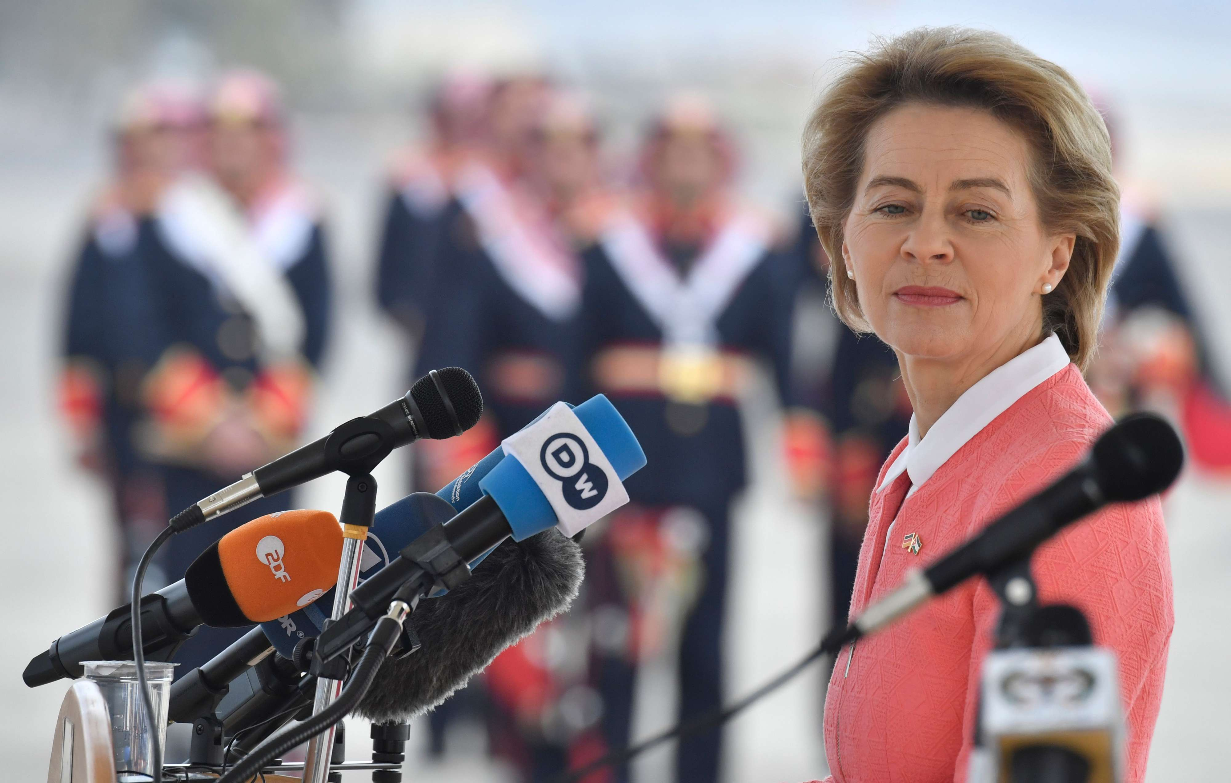 German Defence Minister Ursula von der Leyen during a handing over ceremony at Marka International Airport in Amman, on January 14.  (AFP)