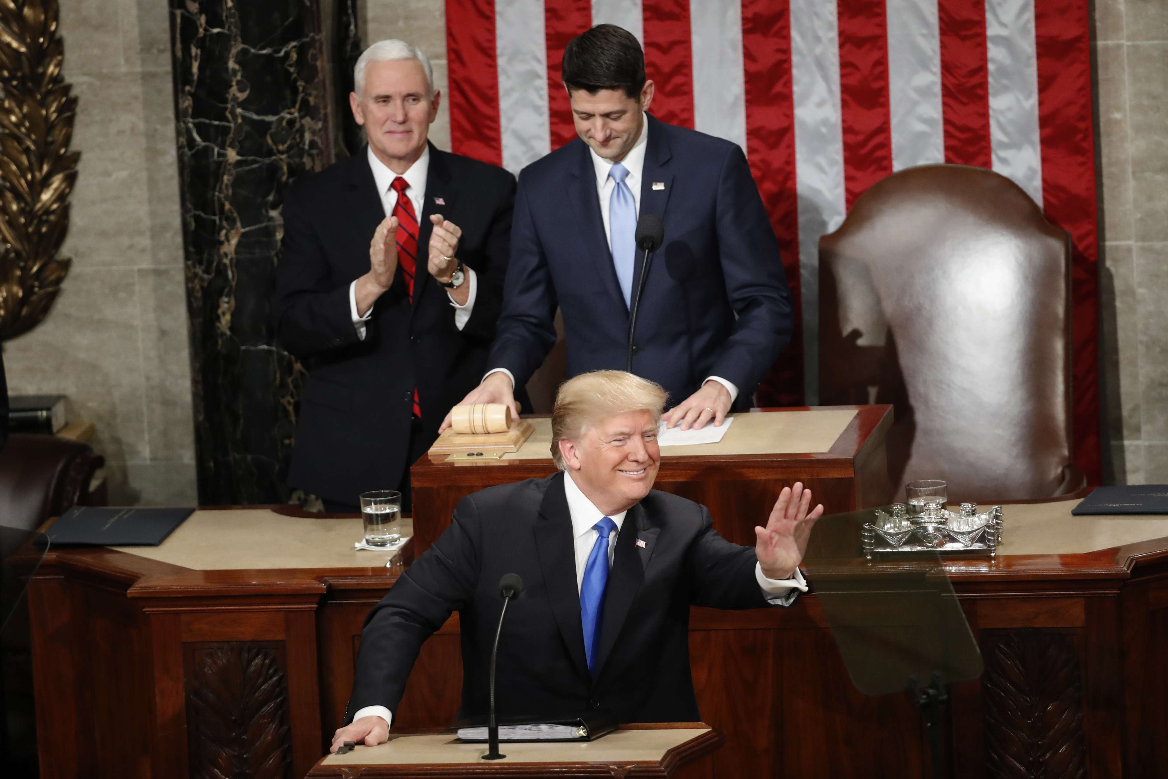 Limited appeal. US President Donald Trump waves towards the Republican side of the House Chamber before his State of the Union address on Capitol Hill, on January 30. (AP)