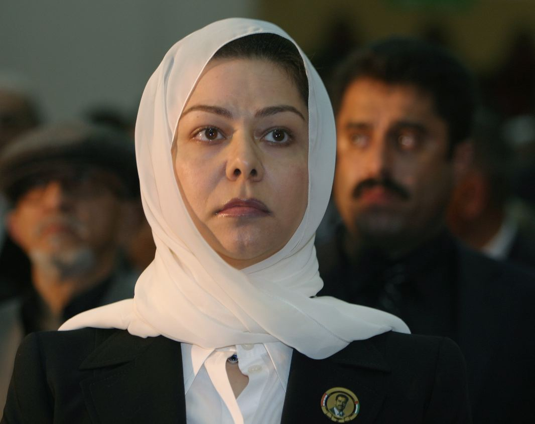 A 2007 file picture shows Raghad Saddam Hussein, daughter of former Iraqi president Saddam Hussein, speaking at a memorial service for her father in Sana'a. (Reuters)
