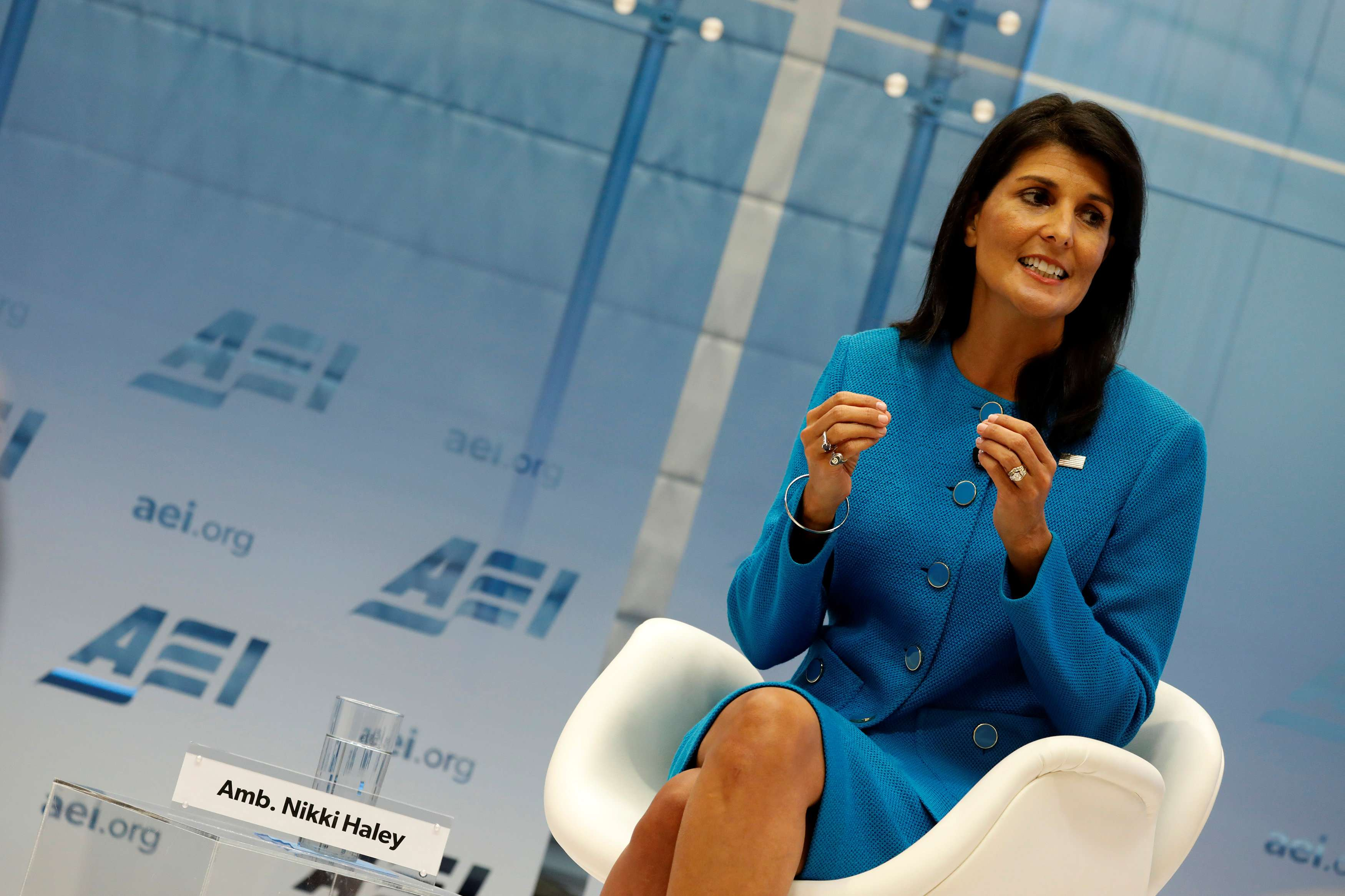 US Ambassador to the United Nations Nikki Haley speaks about the Iran nuclear deal at the American Enterprise Institute (AEI) in Washington, last September. (Reuters)