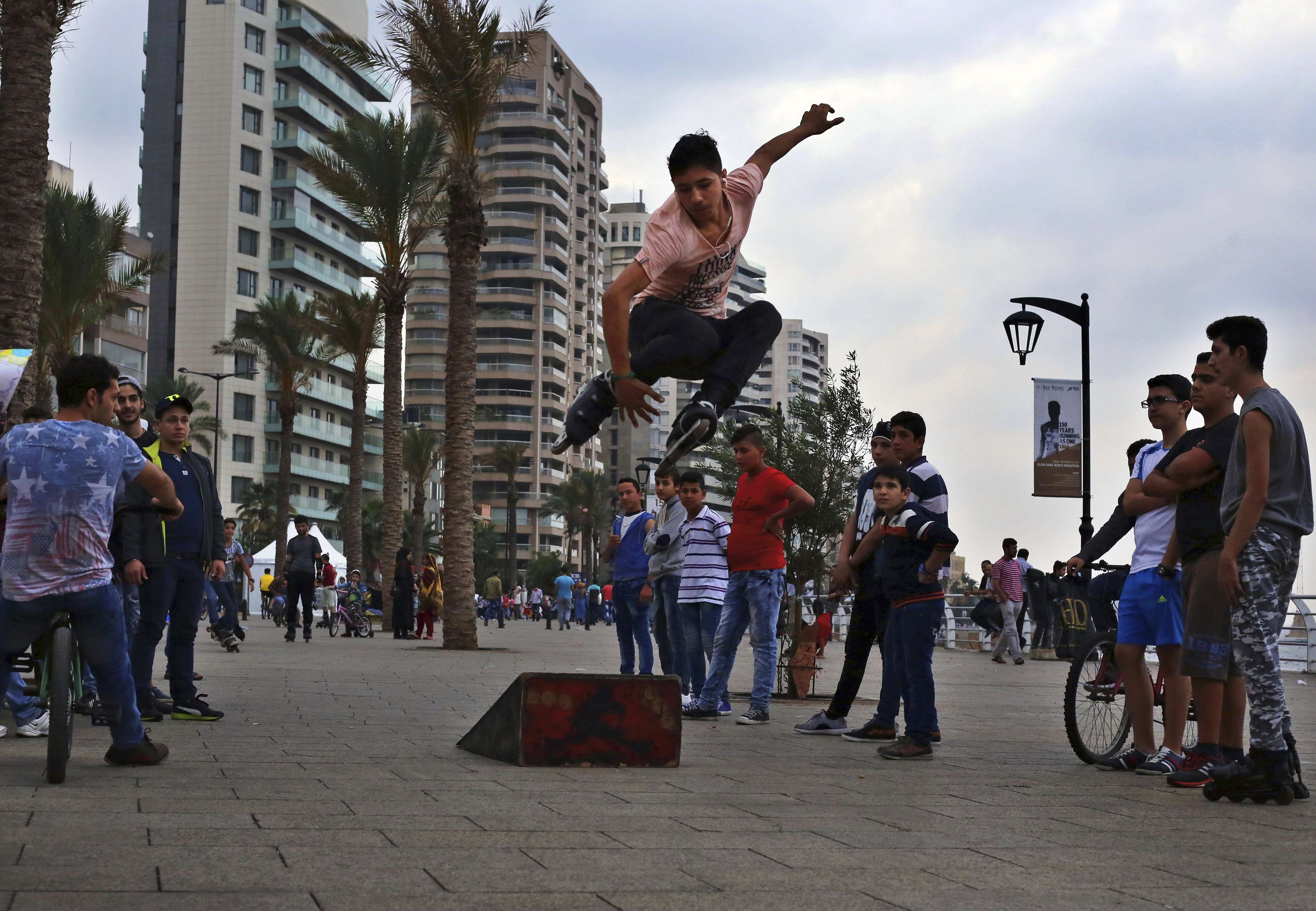 A young roller skater performs his freestyle skills on the Mediterranean waterfront promenade in Beirut.              (AP)