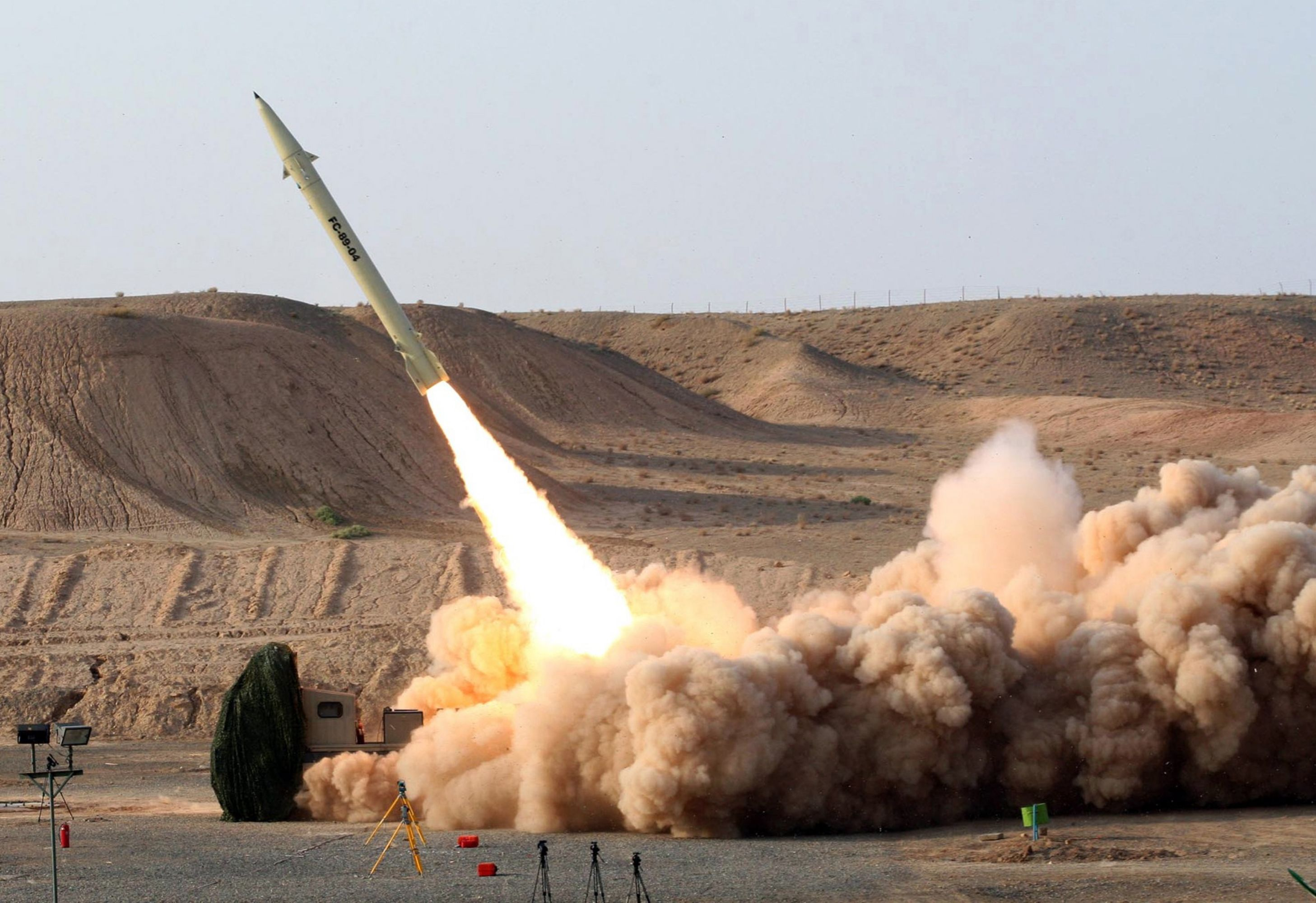 The test firing of Iran's home-built surface-to-surface Fateh-110 missile. (Iranian Defence Ministry)