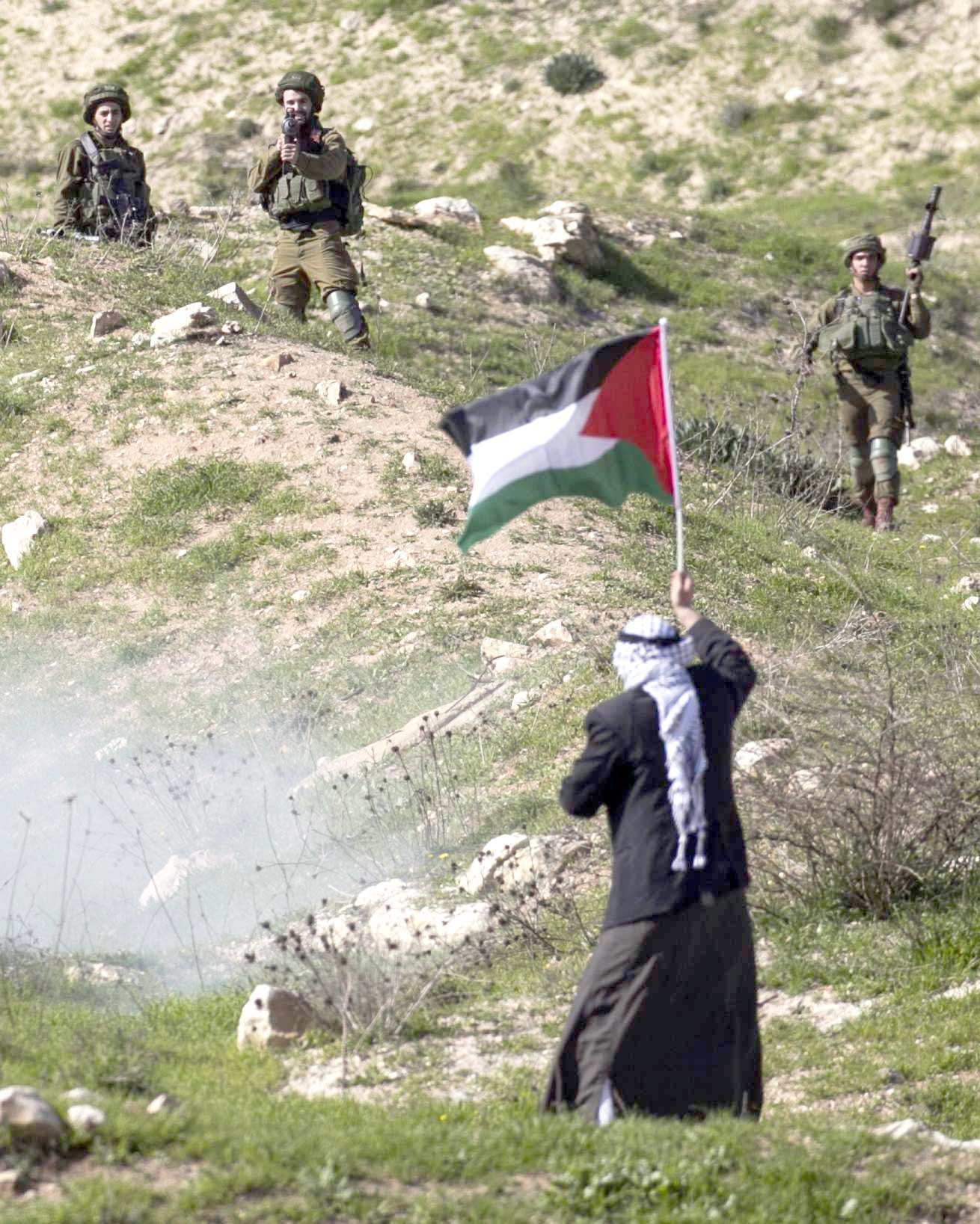 Mightier than the sword. A protester waves a Palestinian flag in front of Israeli soldiers during clashes near the Hawara checkpoint in the West Bank, on February 2. (AFP)