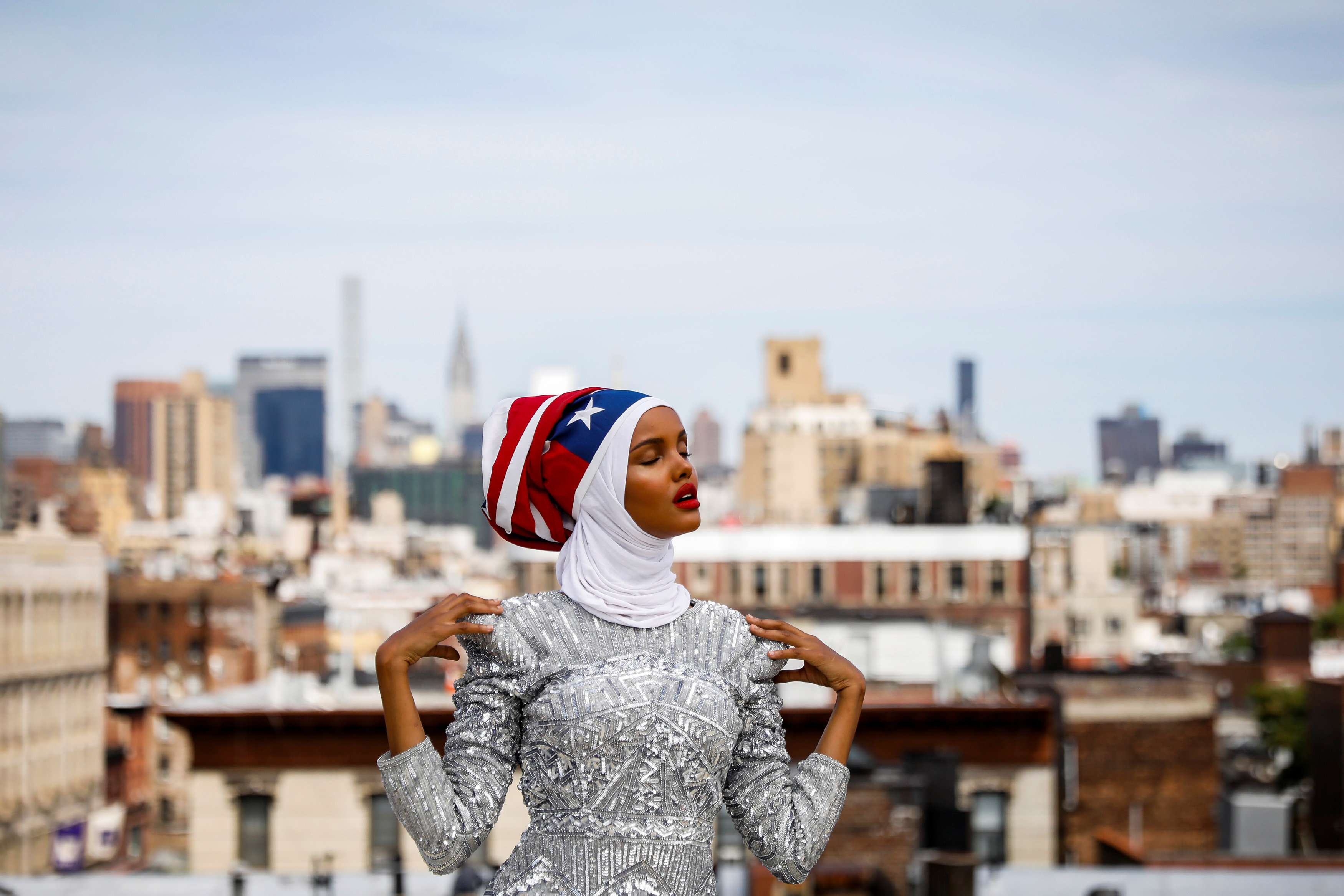 Booming demand. A hijab-wearing model poses during a shoot at a studio in New York City.      (Reuters)