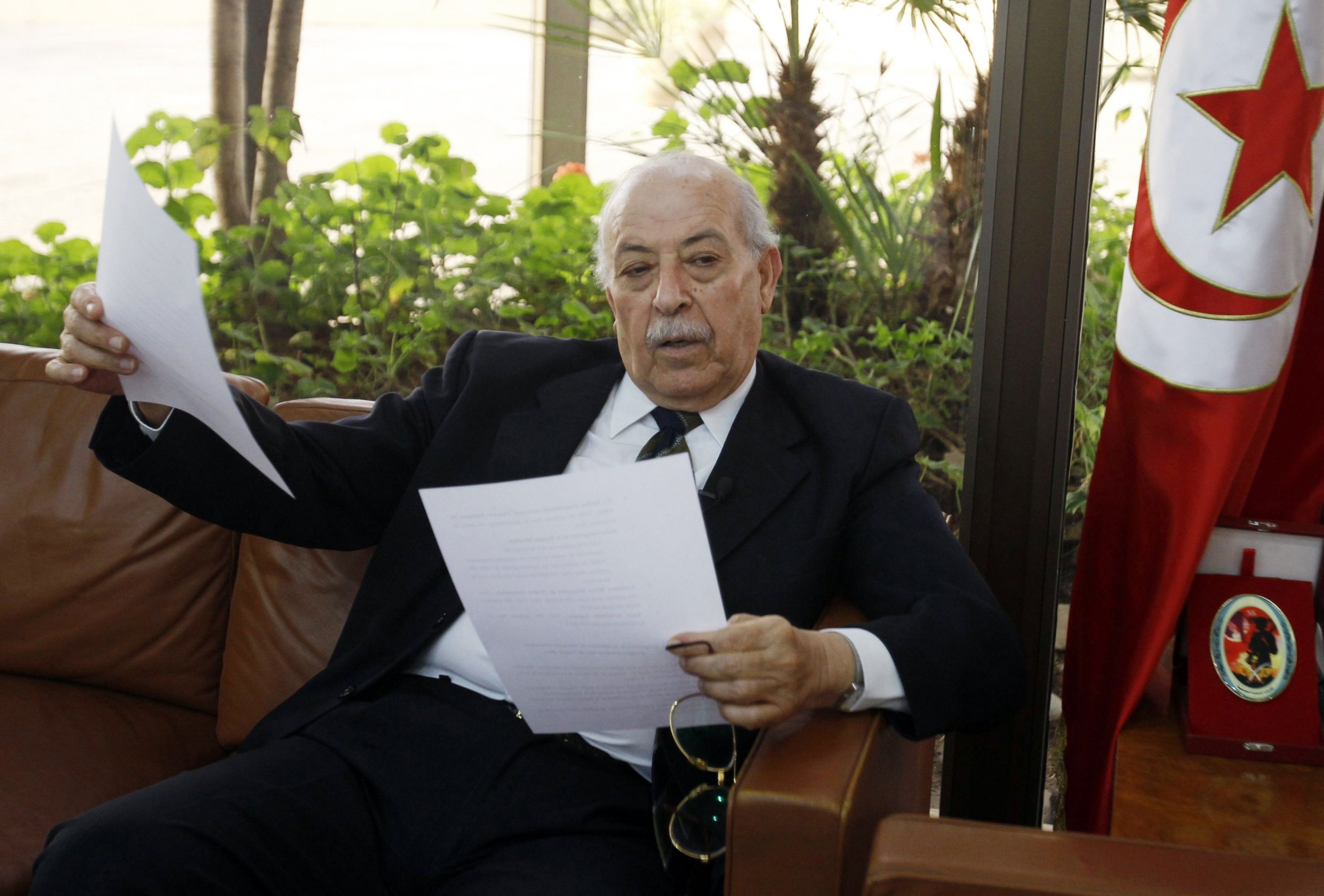 A file picture shows former Central Bank Governor Chedly Ayari during an interview in Tunis. (Reuters)