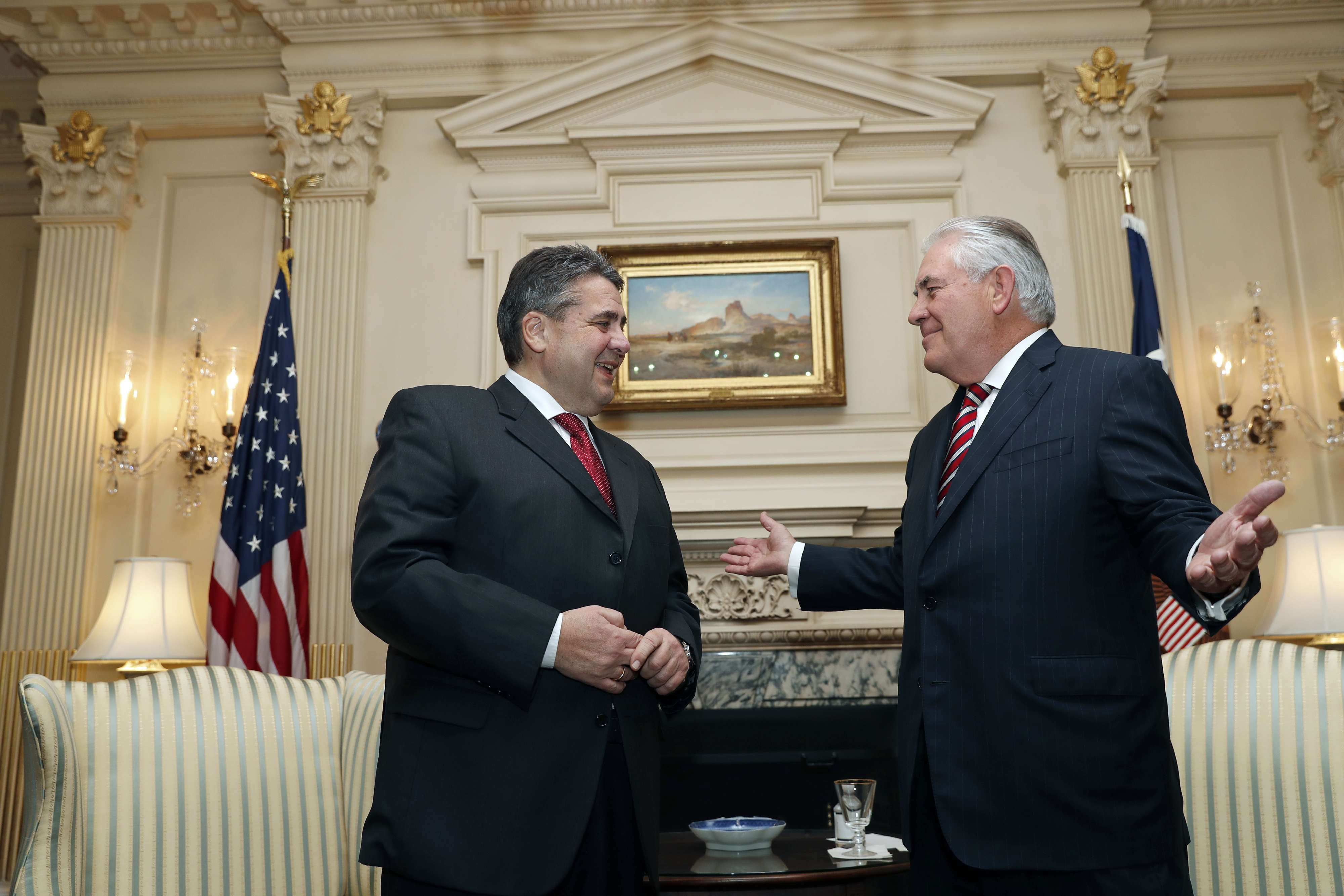 German Foreign Minister Sigmar Gabriel (L) talks with US Secretary of State Rex Tillerson in Washington, last year. (AP)