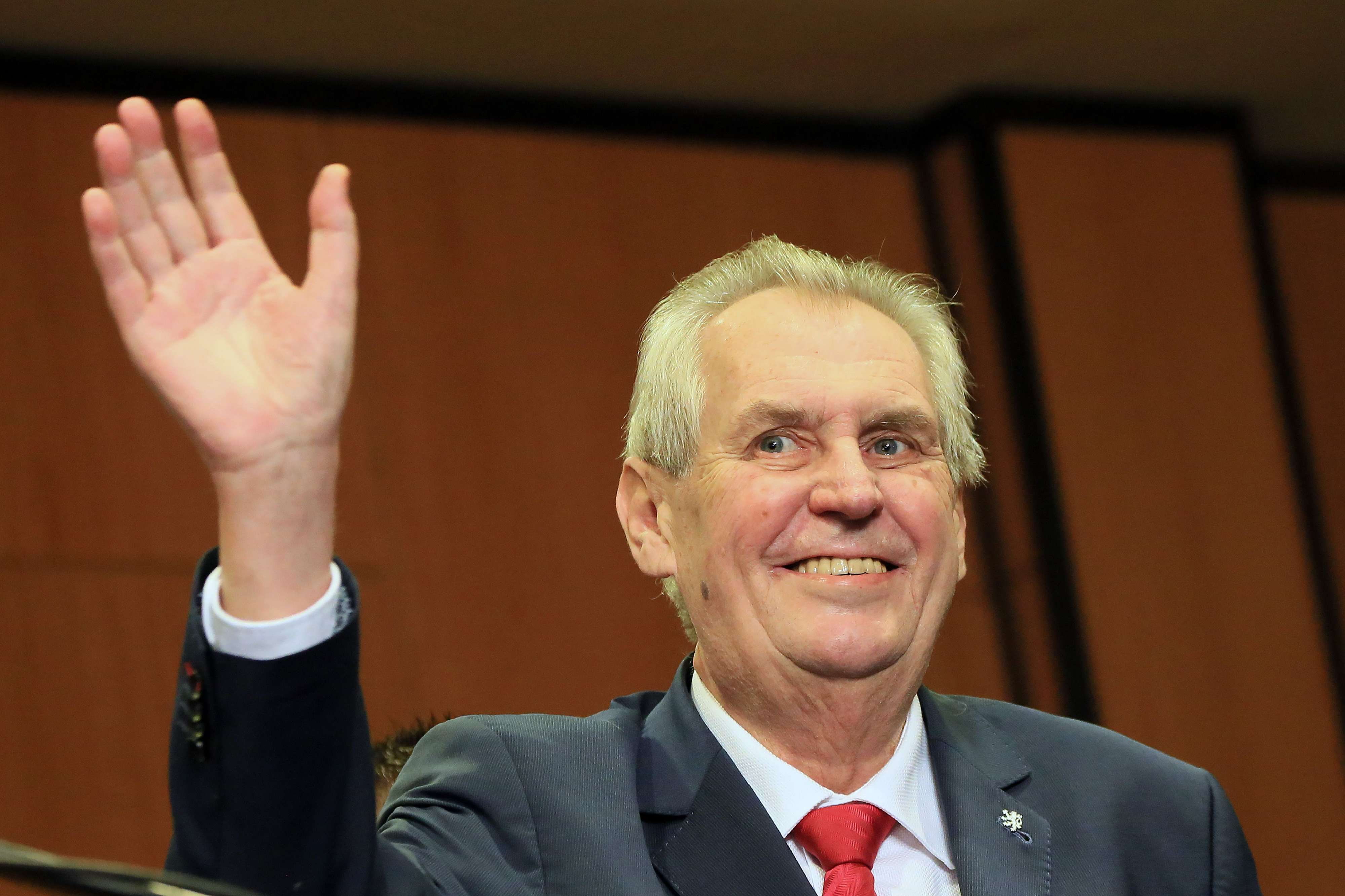 Czech President Milos Zeman waves to an audience in Prague. (AFP)