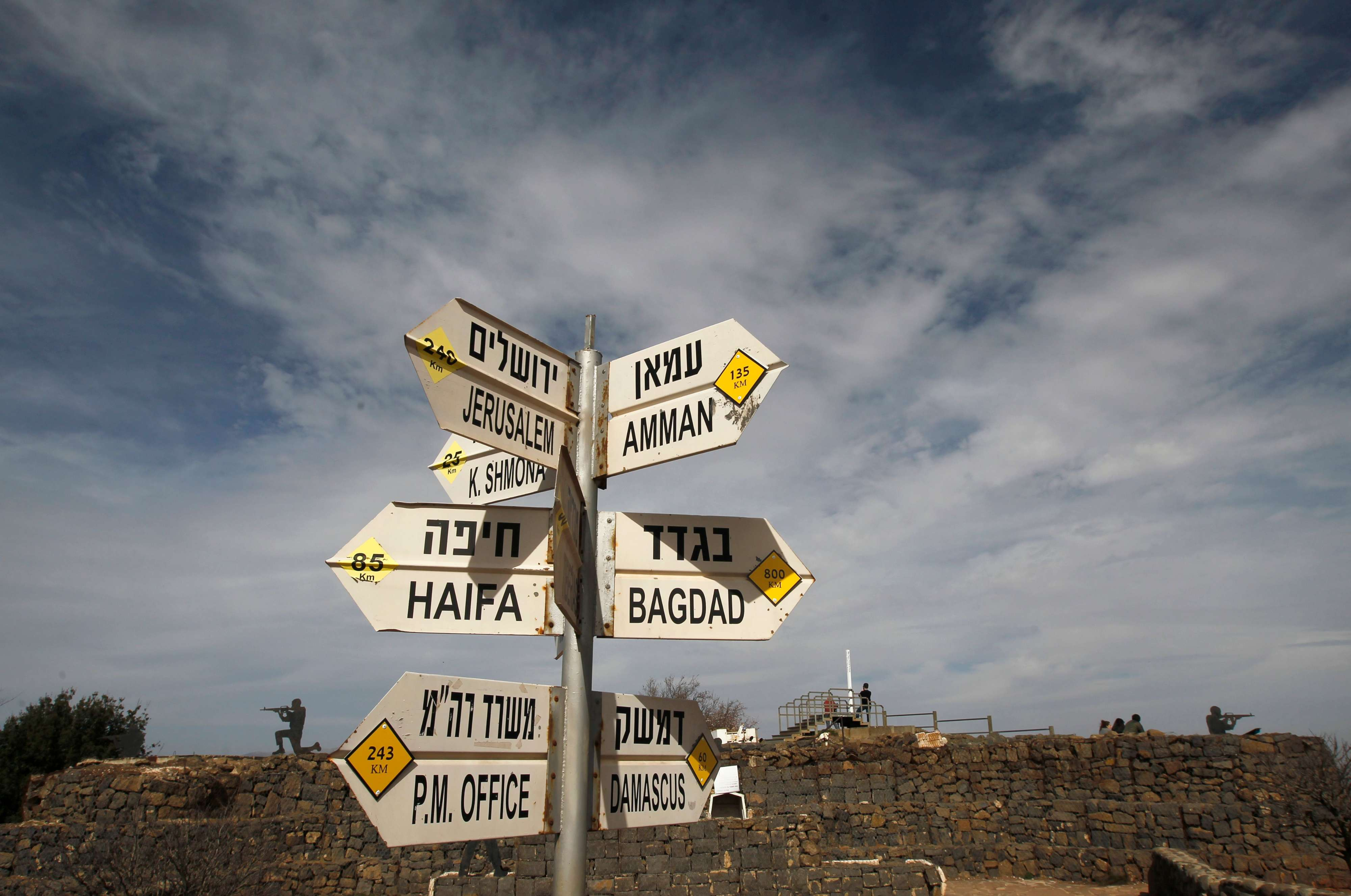 A sign shows the direction to Damascus and Baghdad among other destinations at an army post on Mount Bental in the Israeli-annexed Golan Heights, on February 10. (AFP)