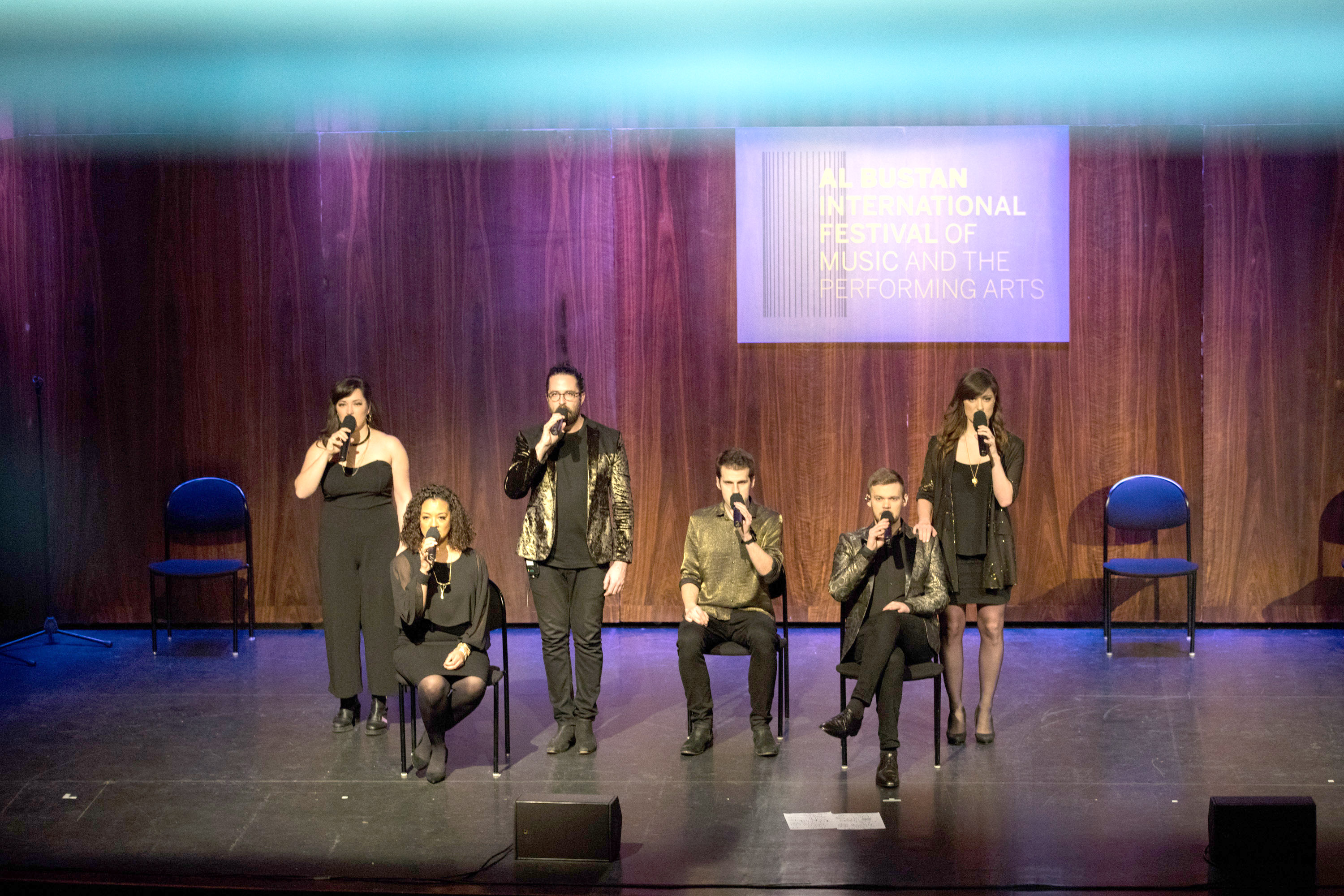 Popular touch. Members of Britain's vocal group Swingle Singers perform at the 25th Al Bustan Festival, on February 13. 			             (Carl Halal)