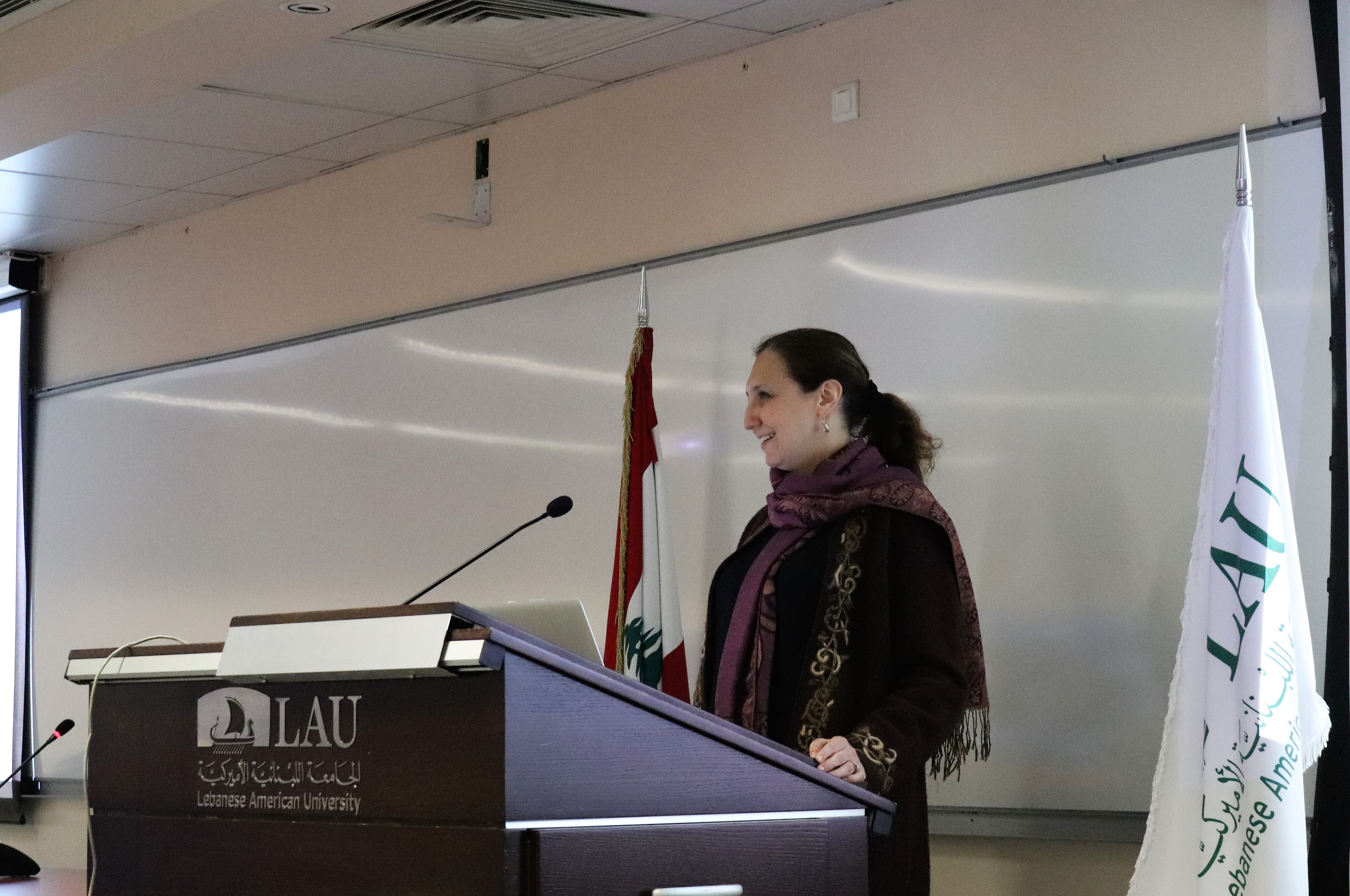 "Maria Dakake, associate professor of religious studies at George Mason University in Virginia, speaks at  the conference on ""Gender in the Quran"" at the Lebanese American University in Beirut.  (LAU)"