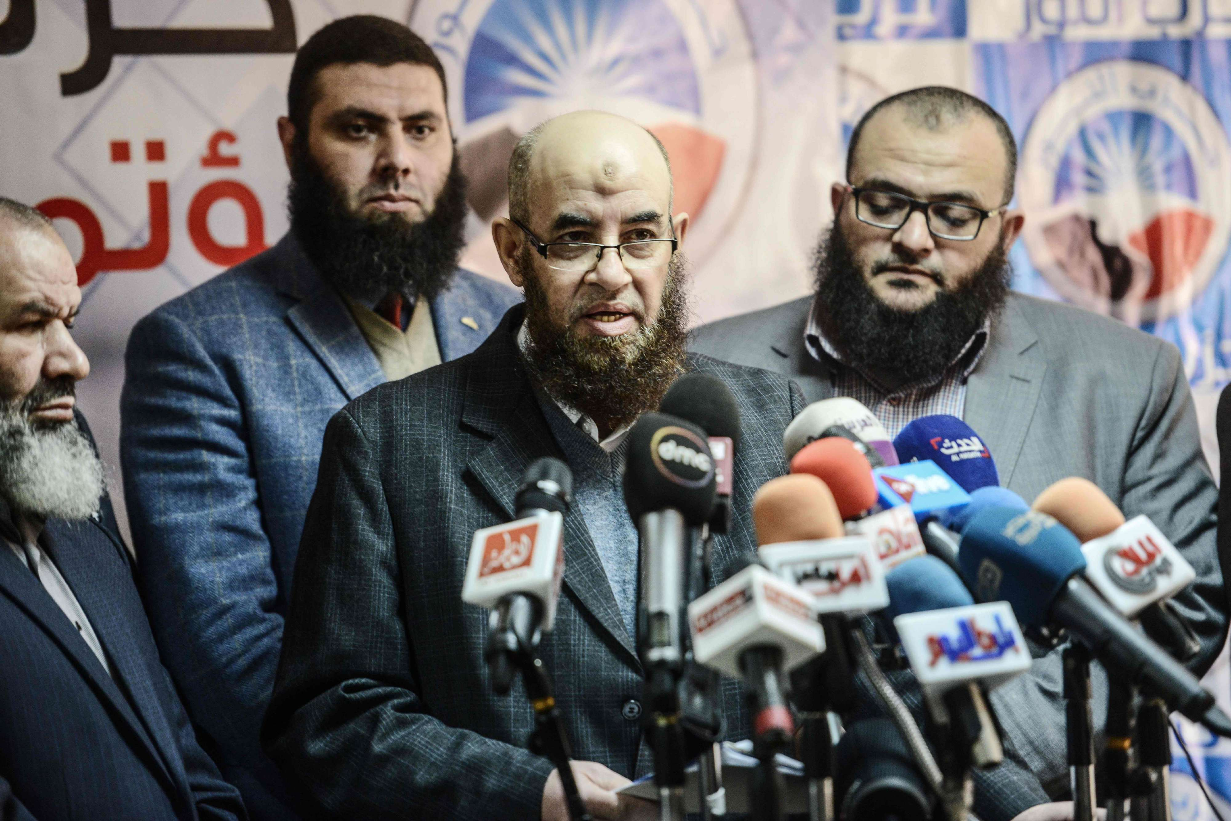 Younes Makhyoun, the head of the Salafist Al-Nour Party, speaks during a press conference in Cairo, on January 28. (AFP)