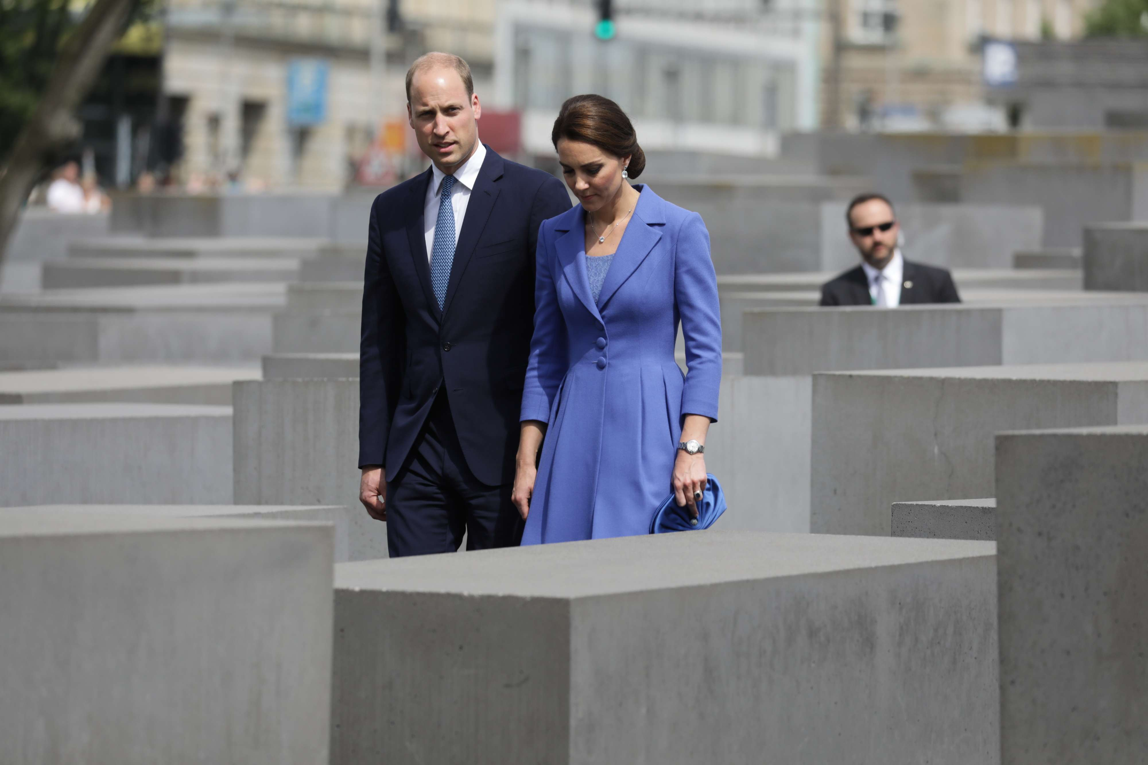 Britain's Prince William and his wife Kate, Duchess of Cambridge, visit the Memorial to the Murdered Jews of Europe, also known as the Holocaust Memorial, in Berlin, last July. (AP)