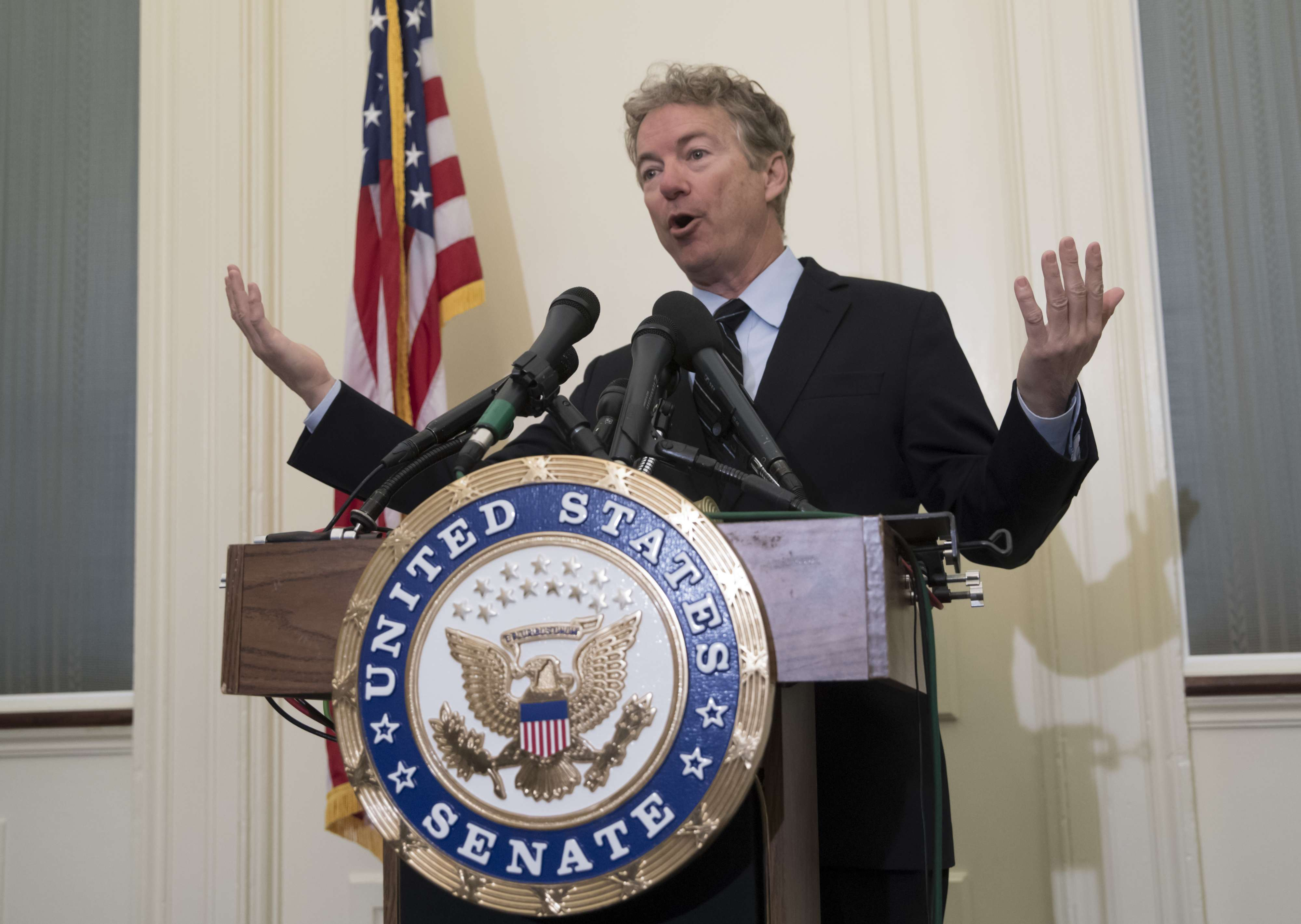 Republican Senator Rand Paul of Kentucky speaks during a press conference at the US Capitol to announce his opposition to the nomination of CIA Director Mike Pompeo as new Secretary of State, on March 14. (AP)
