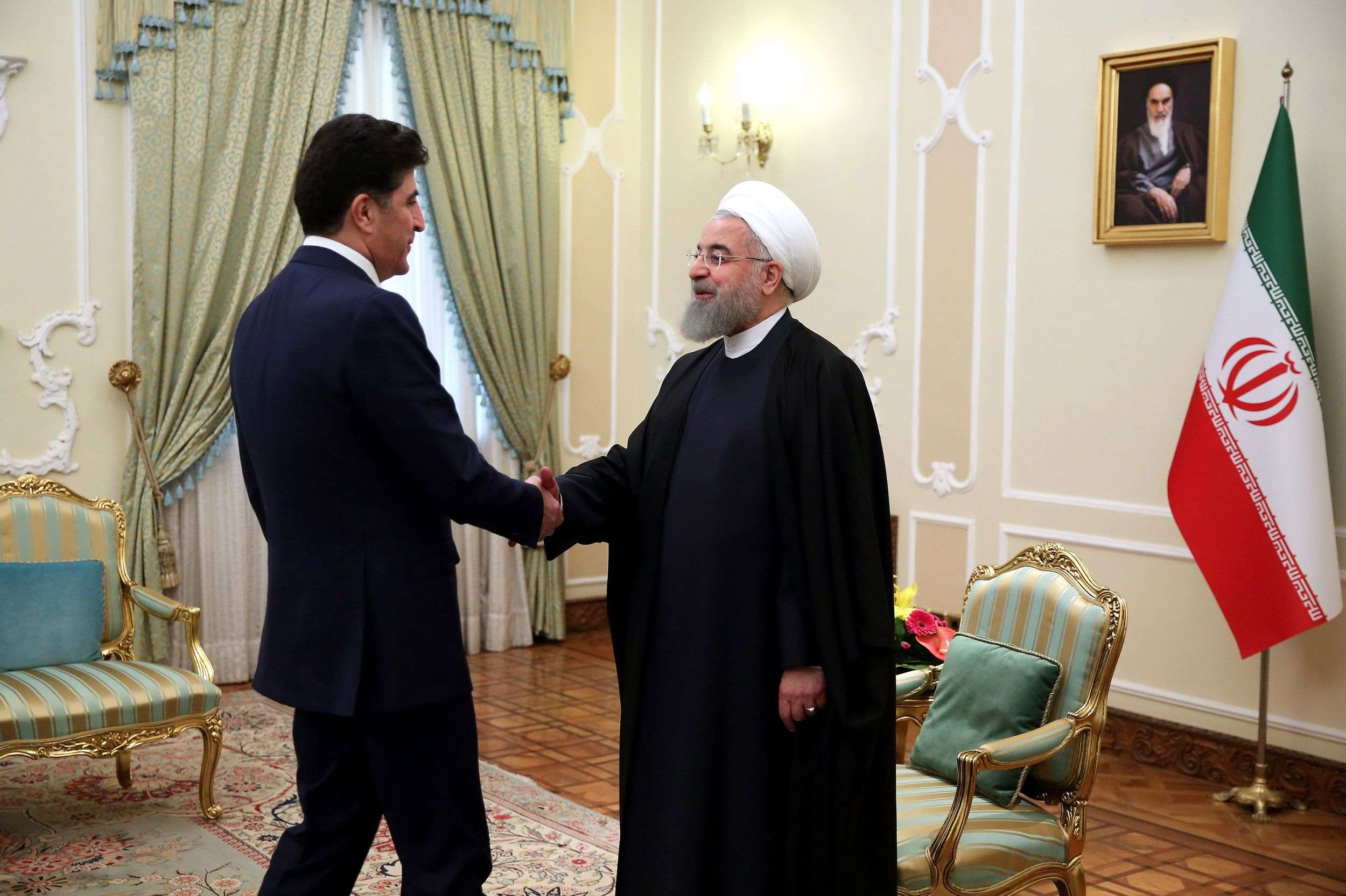 Iranian President Hassan Rohani (R) meets with Nechirvan Barzani, prime minister of Iraq's Kurdistan Regional Government (KRG) in Tehran, on January 21.       (Office of Iranian President)