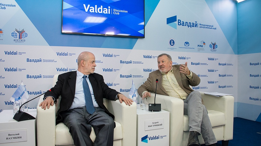 Director of the Institute of Oriental Studies of the Russian Academy of Sciences Vitaly Naumkin (L) and Chairman of the Board of the Foundation for Development and Support of the Valdai Discussion Club Andrey Bystritskiy attend the Valdai Club conference on Russia in the Middle East.  (Valdai Discussion Club)