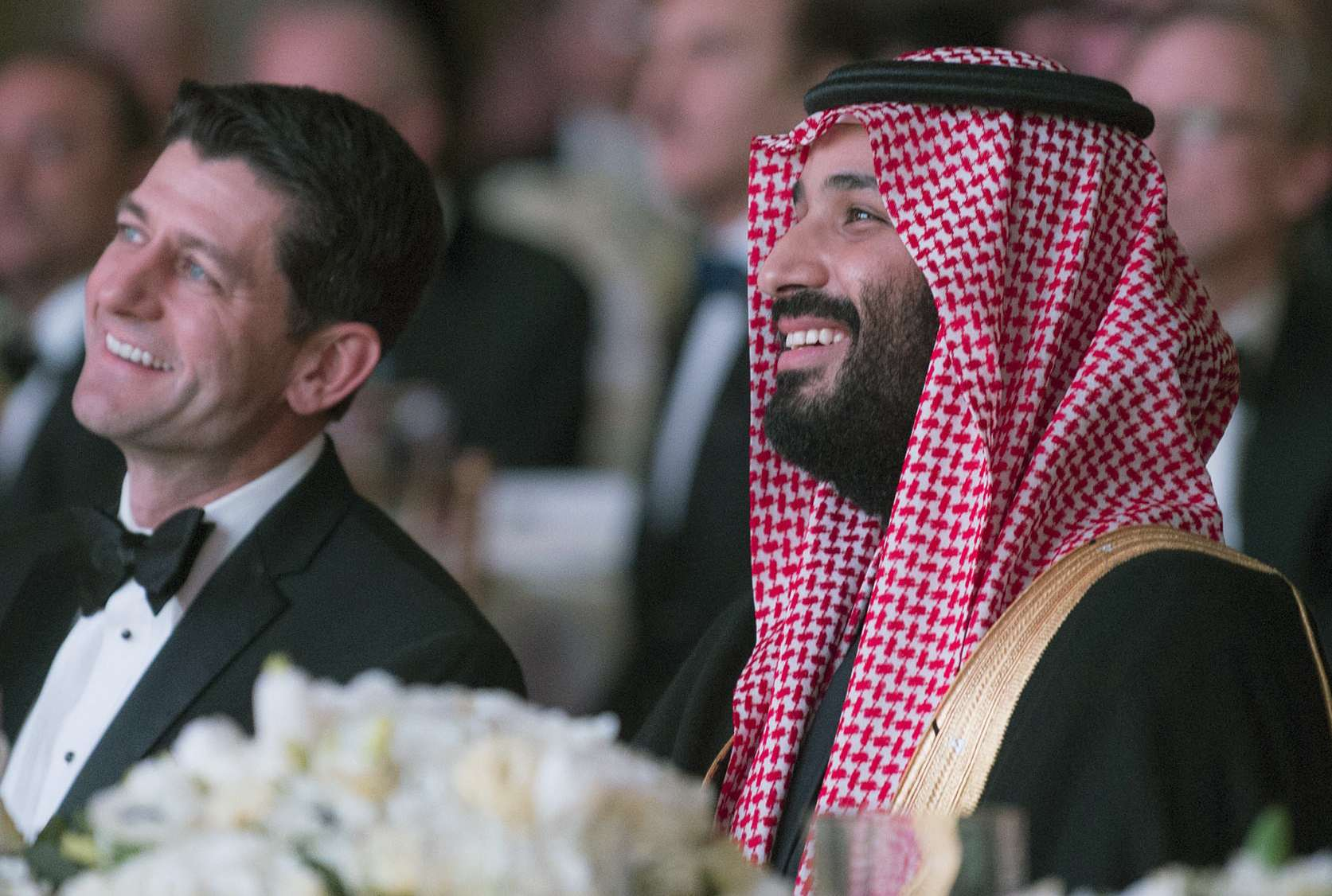 Saudi Crown Prince Mohammed bin Salman bin Abdulaziz (R) and US Speaker of the House Paul Ryan attend the Saudi-US Partnership Gala event in Washington, on March 22. (Saudi Royal Palace)