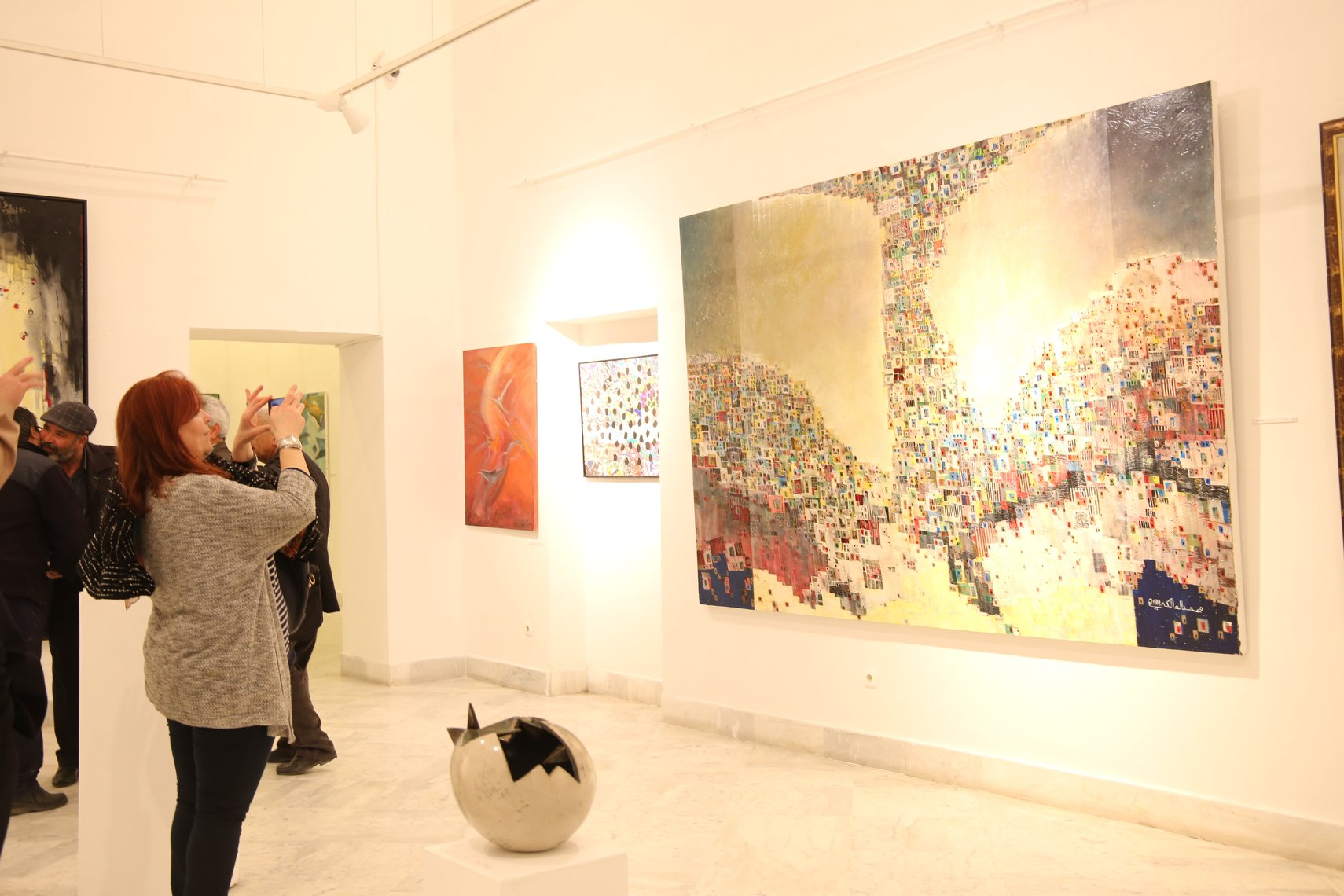 Visitors are seen at the Art Gallery of the Palace of Kheireddine.  (Union of Tunisian Plastic Artists)