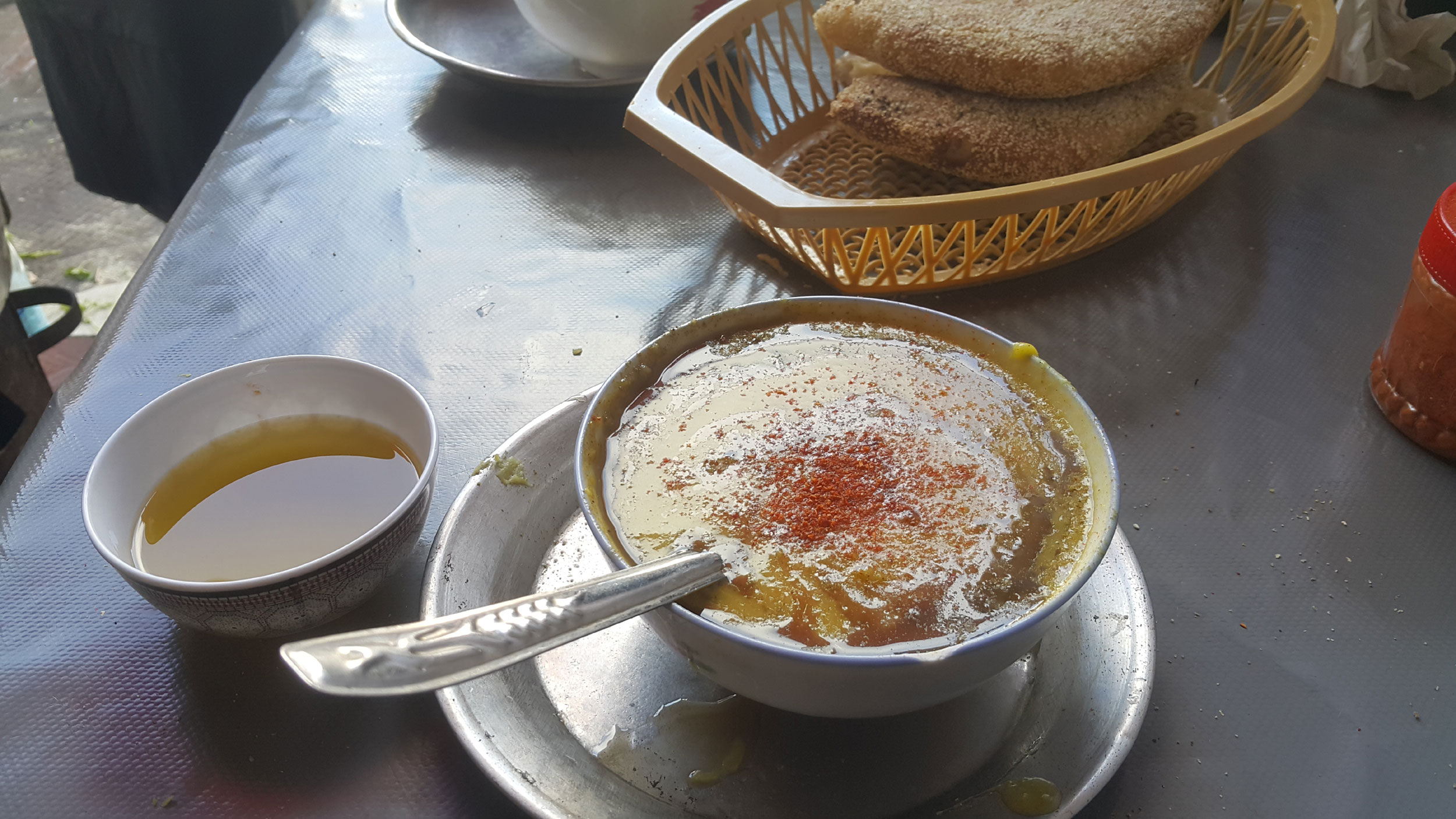 Bissara soup served at a small restaurant in the heart of Casablanca's medina. (Saad Guerraoui)
