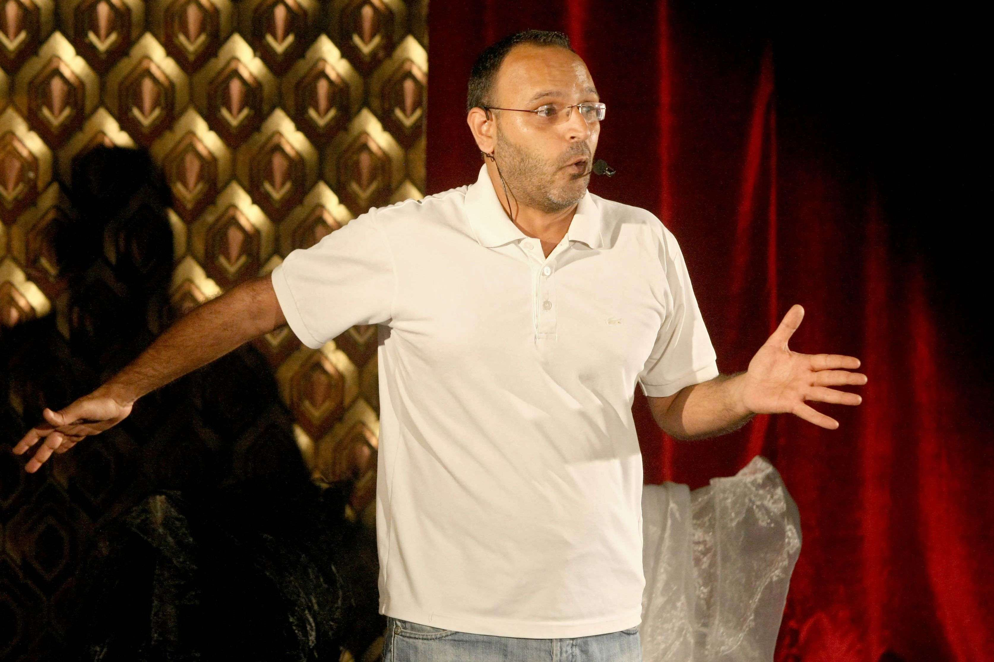 Lebanese writer and actor Ziad Itani performing on stage in the capital Beirut. (AFP)