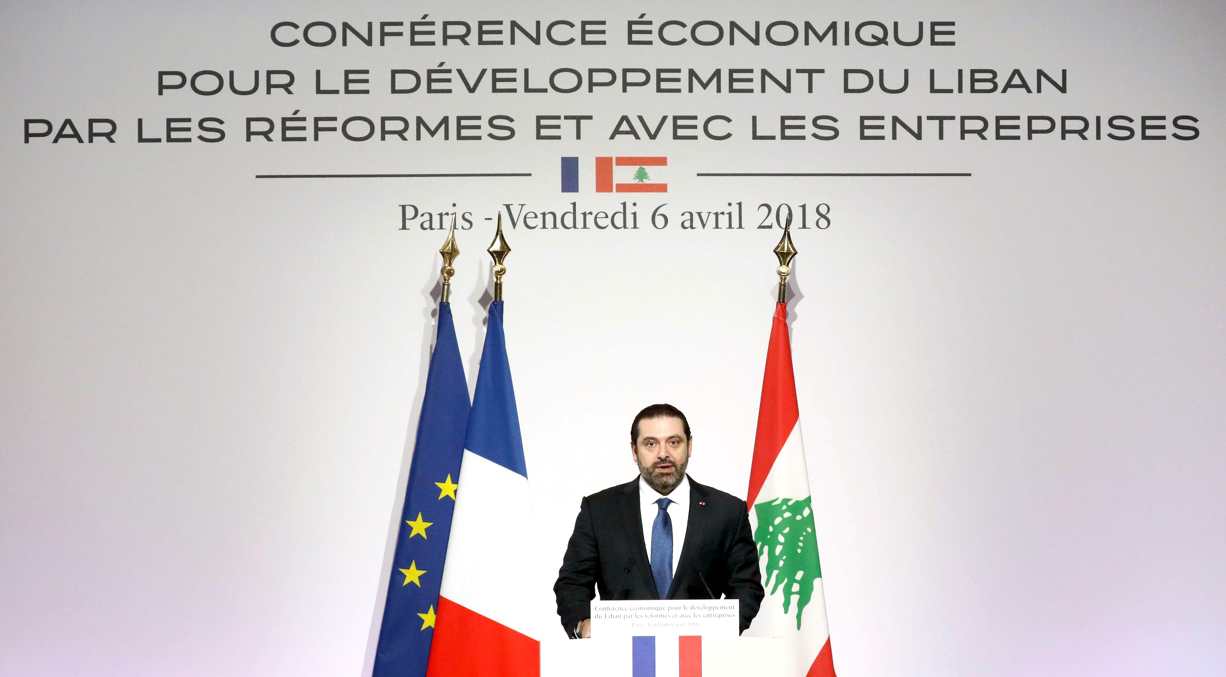 Varnishing over the cracks. Lebanese Prime Minister Saad Hariri addresses the Cedre conference at the Foreign Affairs Ministry in Paris, on April 6. (AFP)
