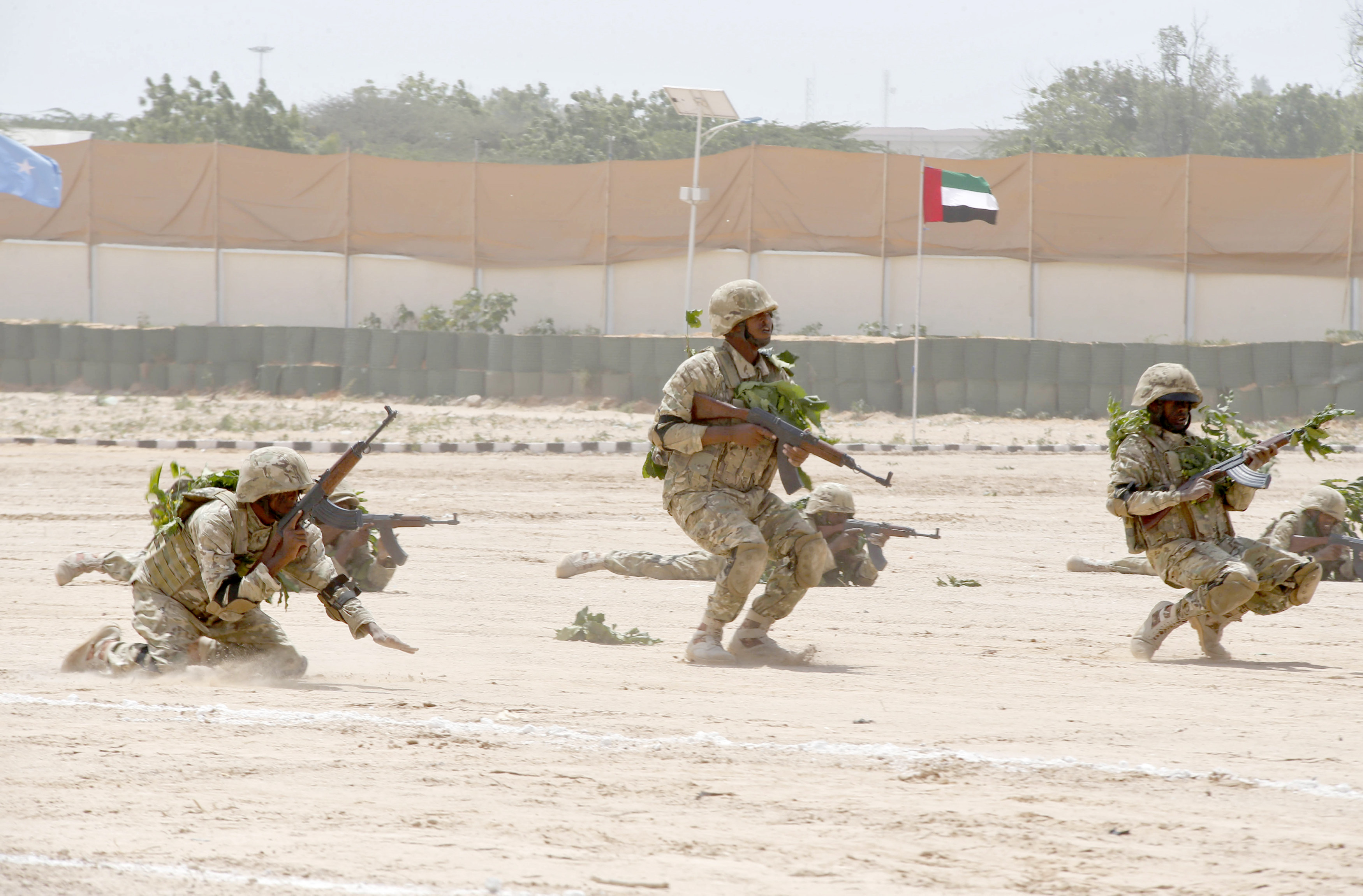 A 2016 file picture shows members of the Somali military performing a defensive drill at the UAE military training camp in Mogadishu. (Reuters)