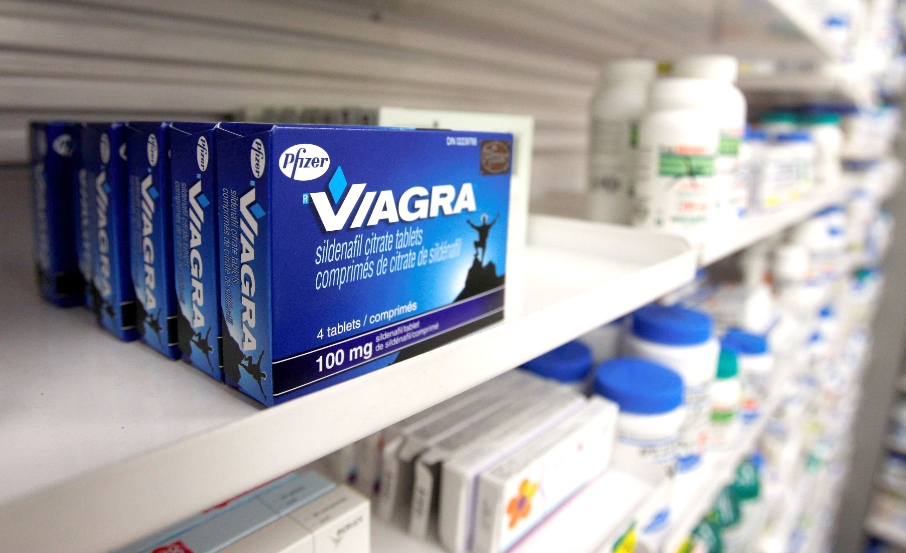 A box of Viagra, typically used to treat erectile dysfunction, on display at a pharmacy. (Reuters)