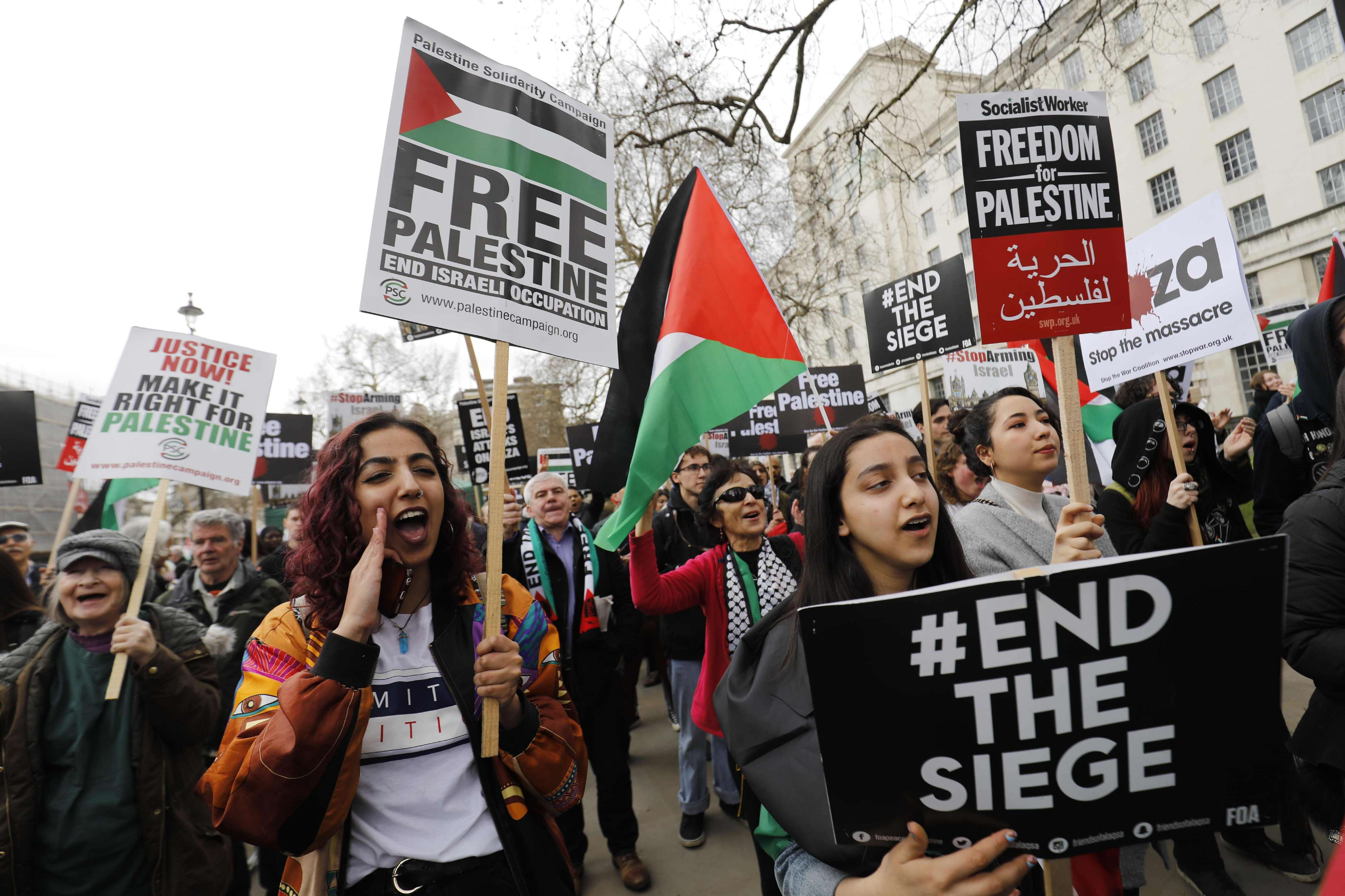 International outcry. Protesters take part in a demonstration in central London in support of Palestianians in Gaza, on April 7.  (AFP)