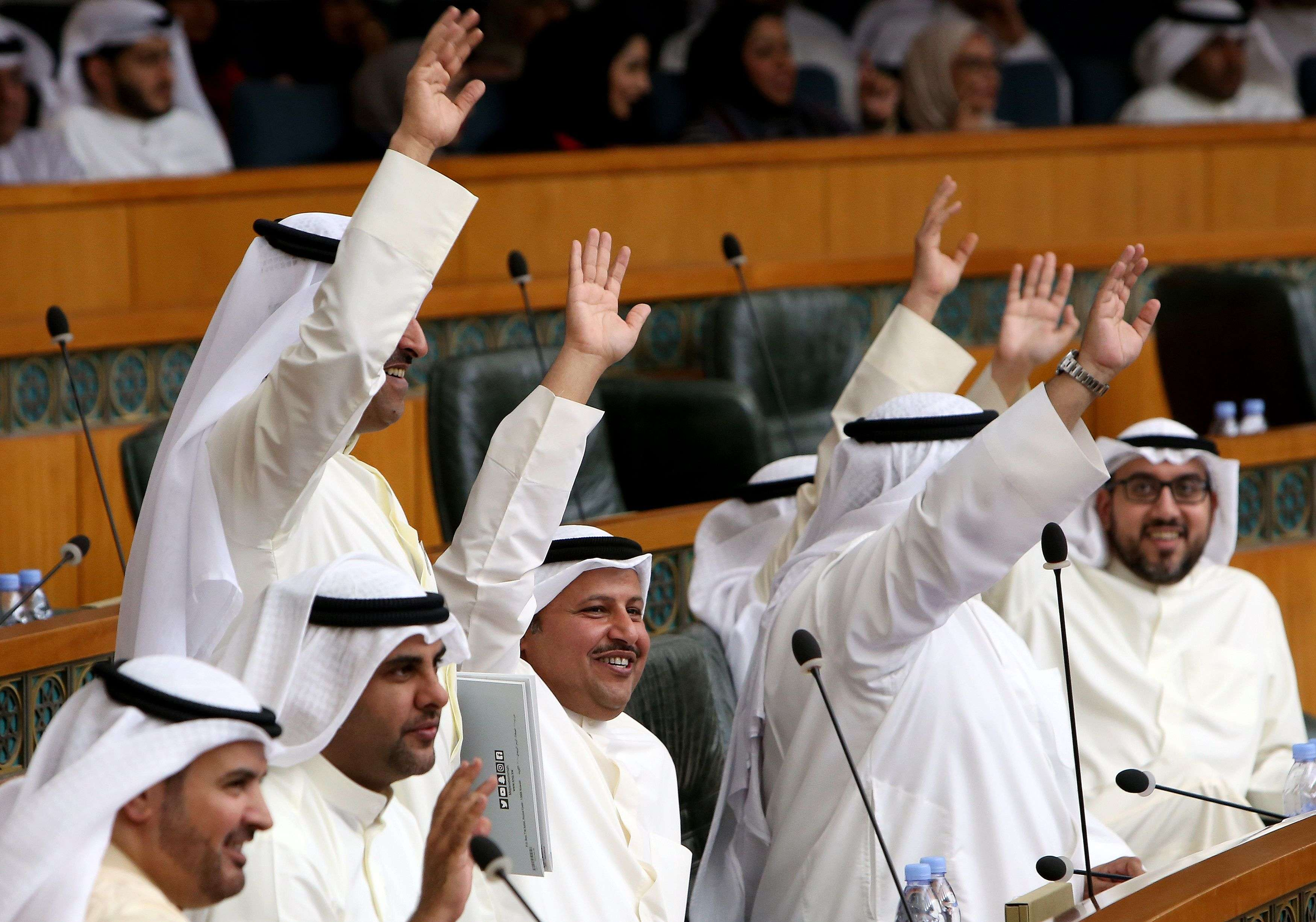 Kuwaiti MPs at a parliament session at Kuwait's National Assembly. (AFP)