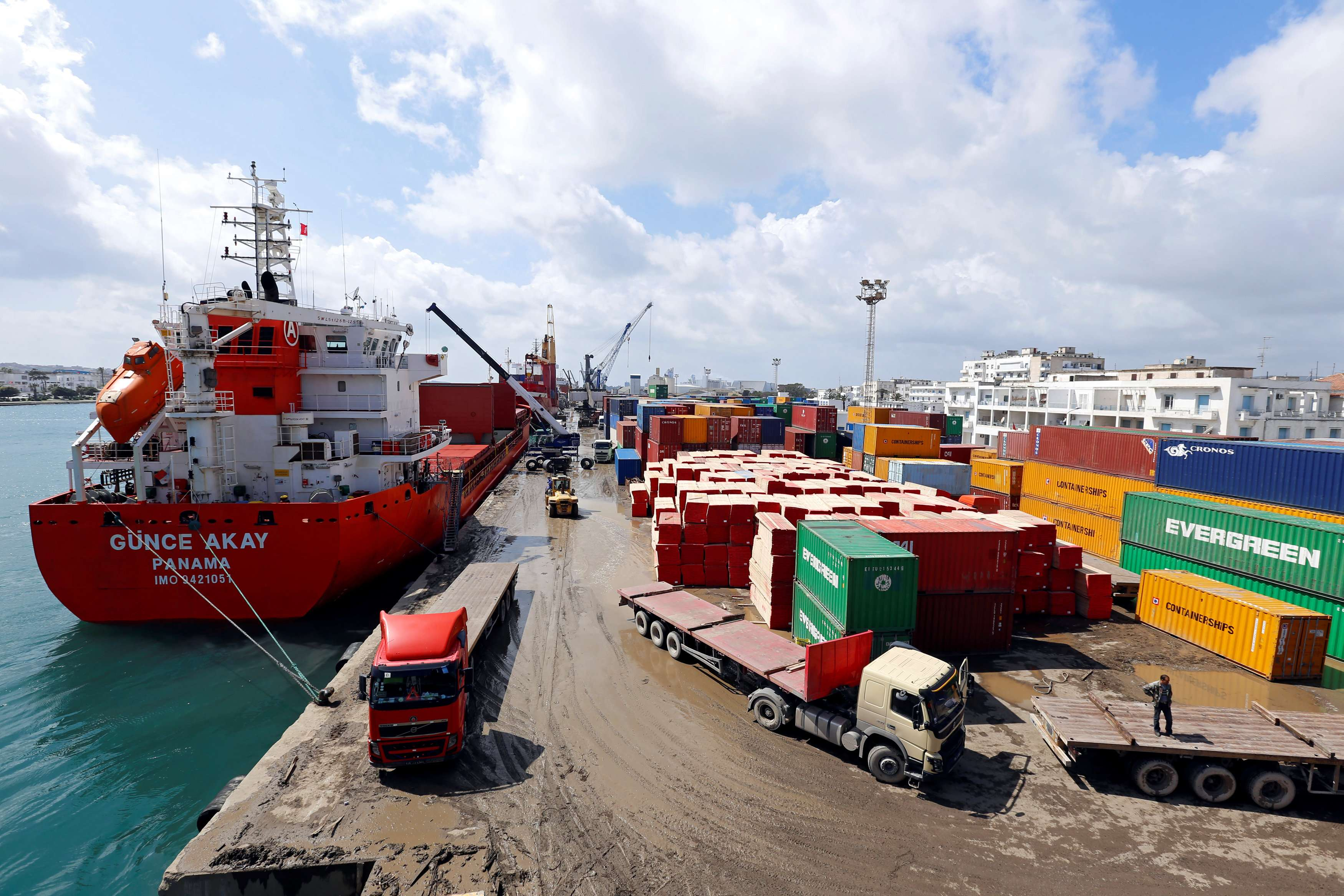Containers are seen at a Tunisian port terminal in Bizerte, on March 27. (Reuters)
