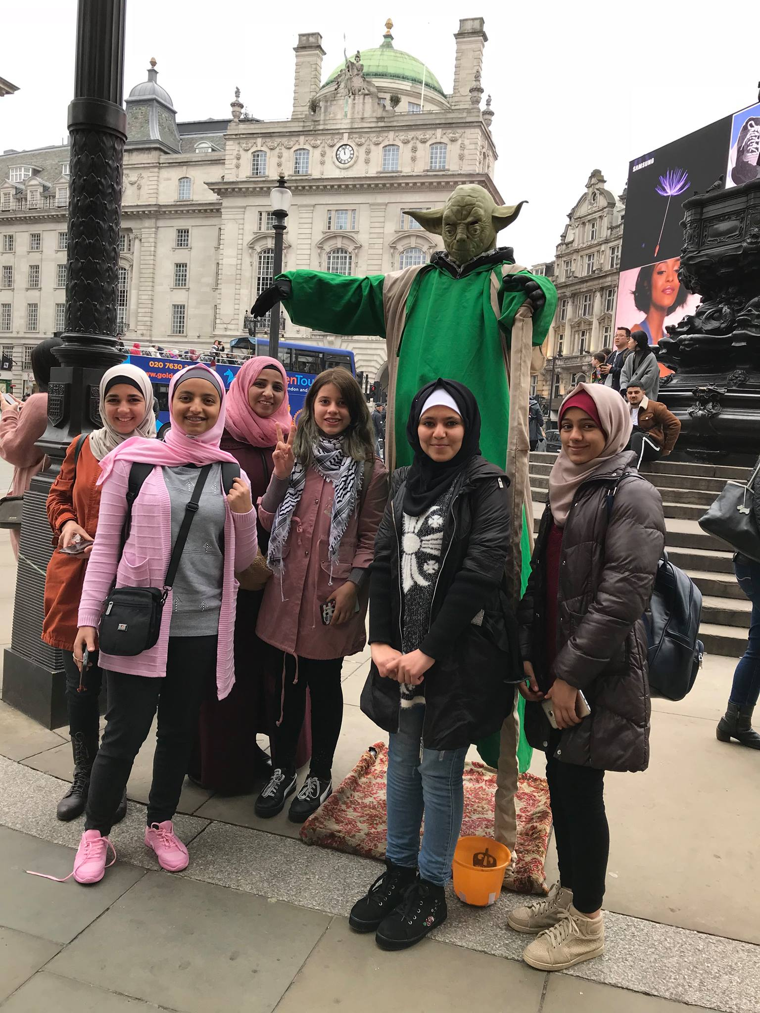 Members of the all-female Khan Younis troupe pose for a photo during their trip to Britain in April. (Hands Up Project)