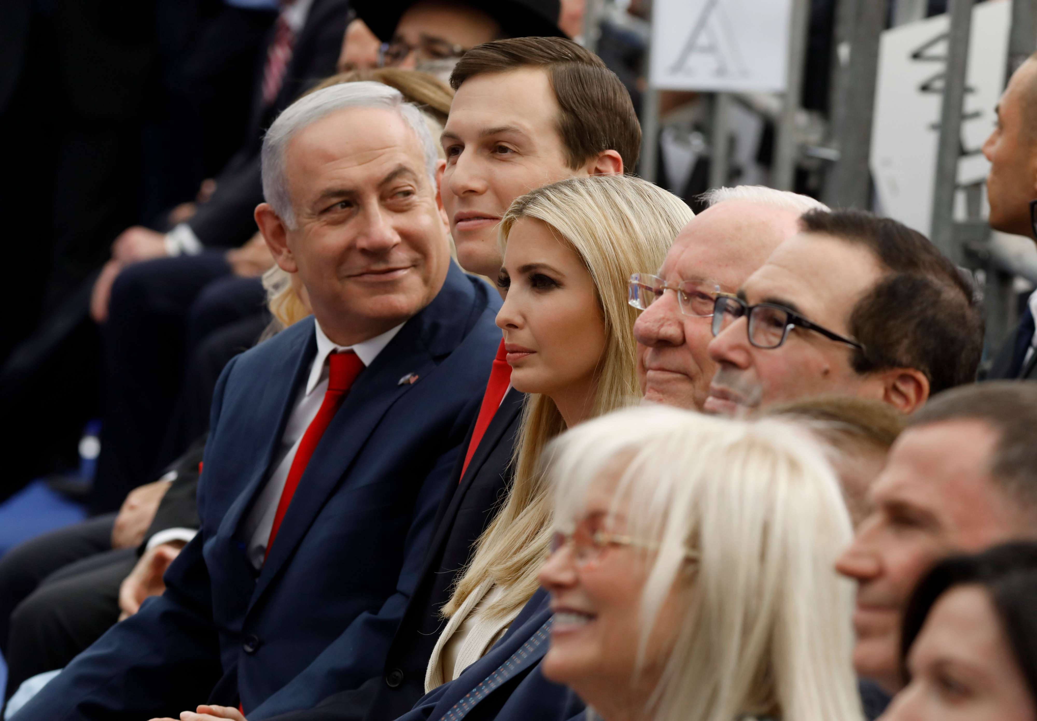 Israeli Prime Minister Binyamin Netanyahu (L), Senior White House Advisor Jared Kushner (C-R) and his wife Ivanka Trump at the opening of the US embassy in Jerusalem, on May 14.    (AFP)
