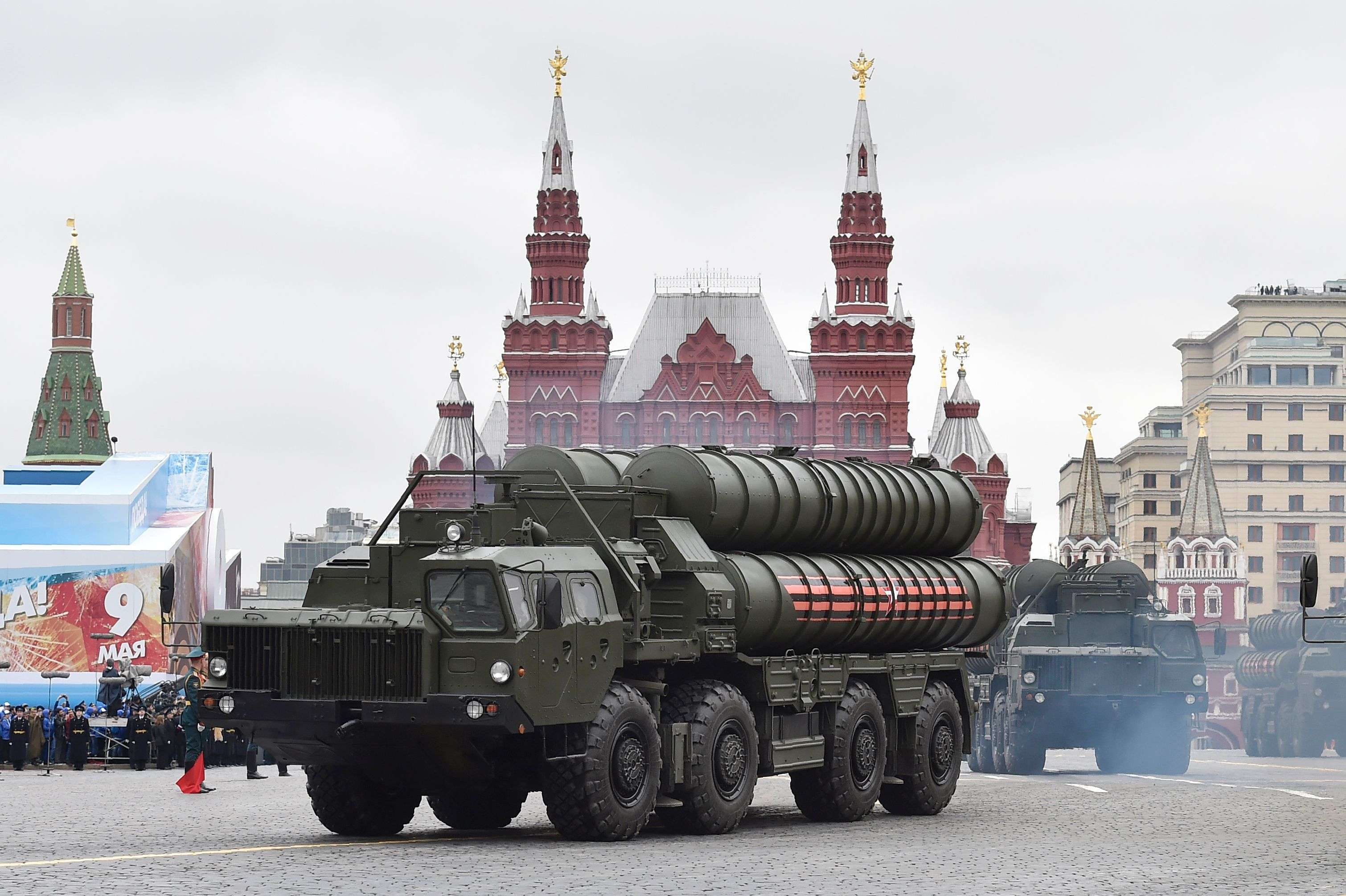 Russian S-400 Triumph medium-range and long-range surface-to-air missile systems ride through Red Square in Moscow. (AFP)