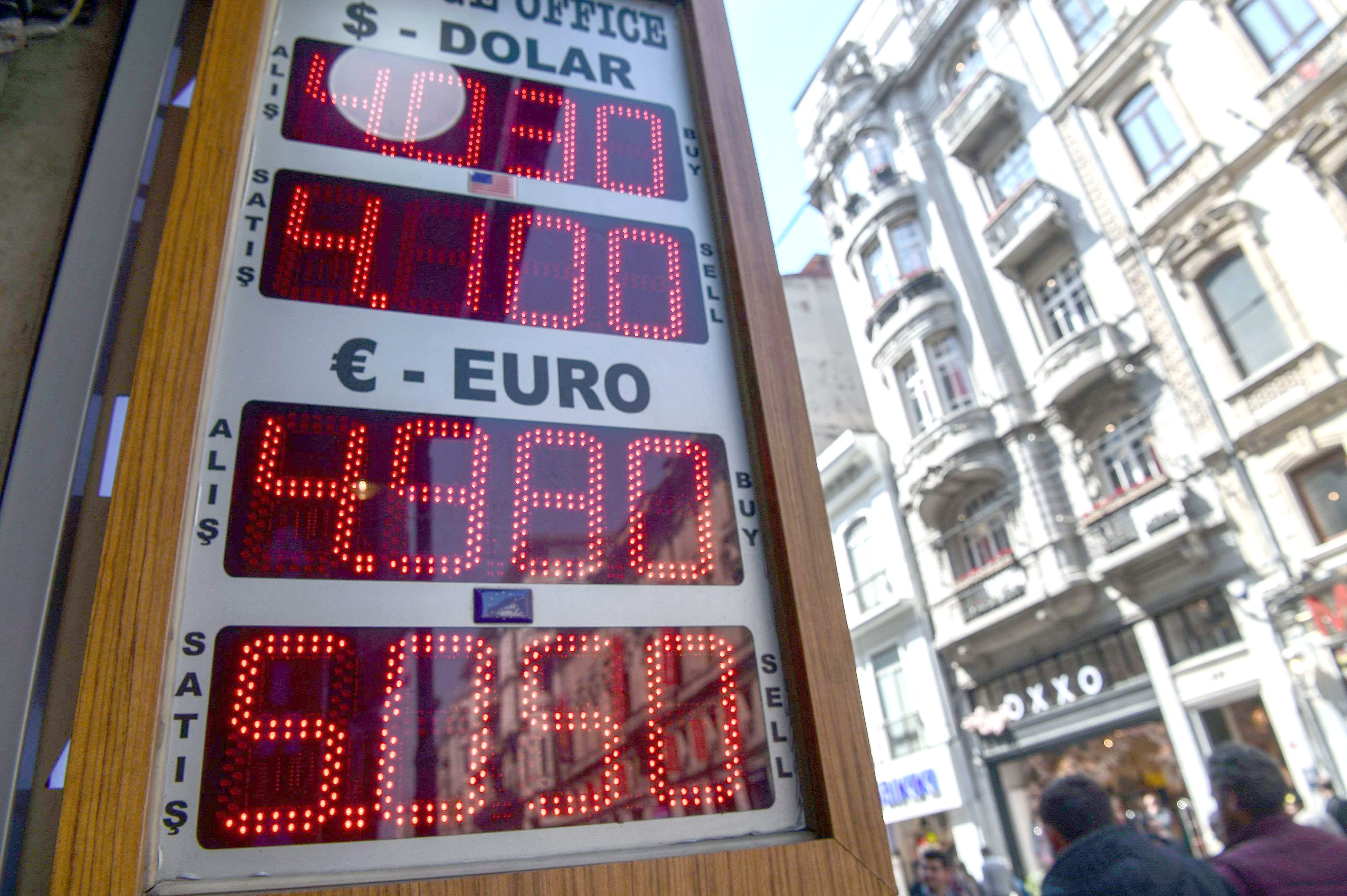 A display of foreign exchange rates against Turkish liras at Istiklal Avenue in Istanbul. (AFP)