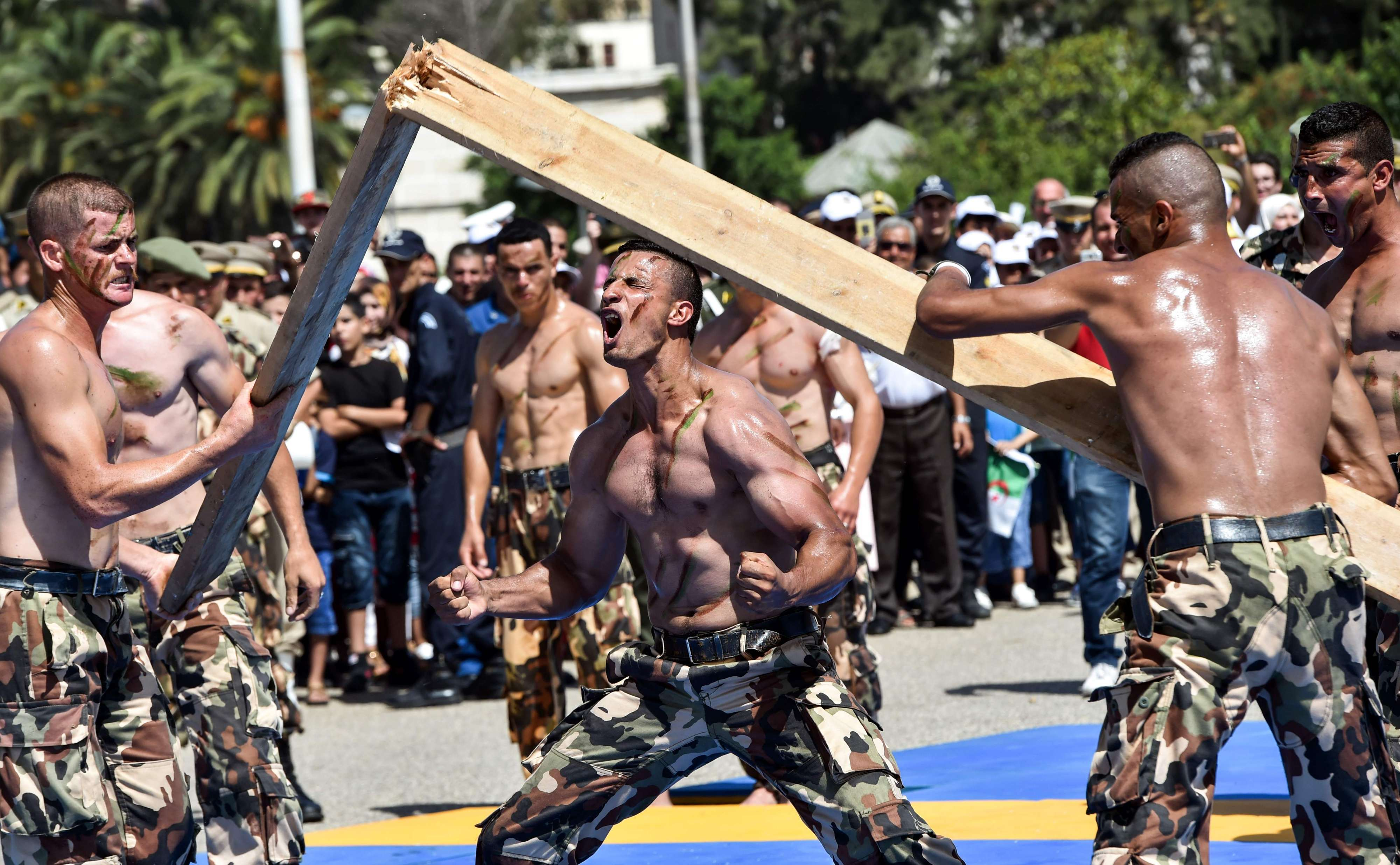 Members of the Algerian Special Forces demonstrate their martial arts skills as they perform by the Army Museum at the Esplanade of Ryad el-Feth, last year.  (AFP)
