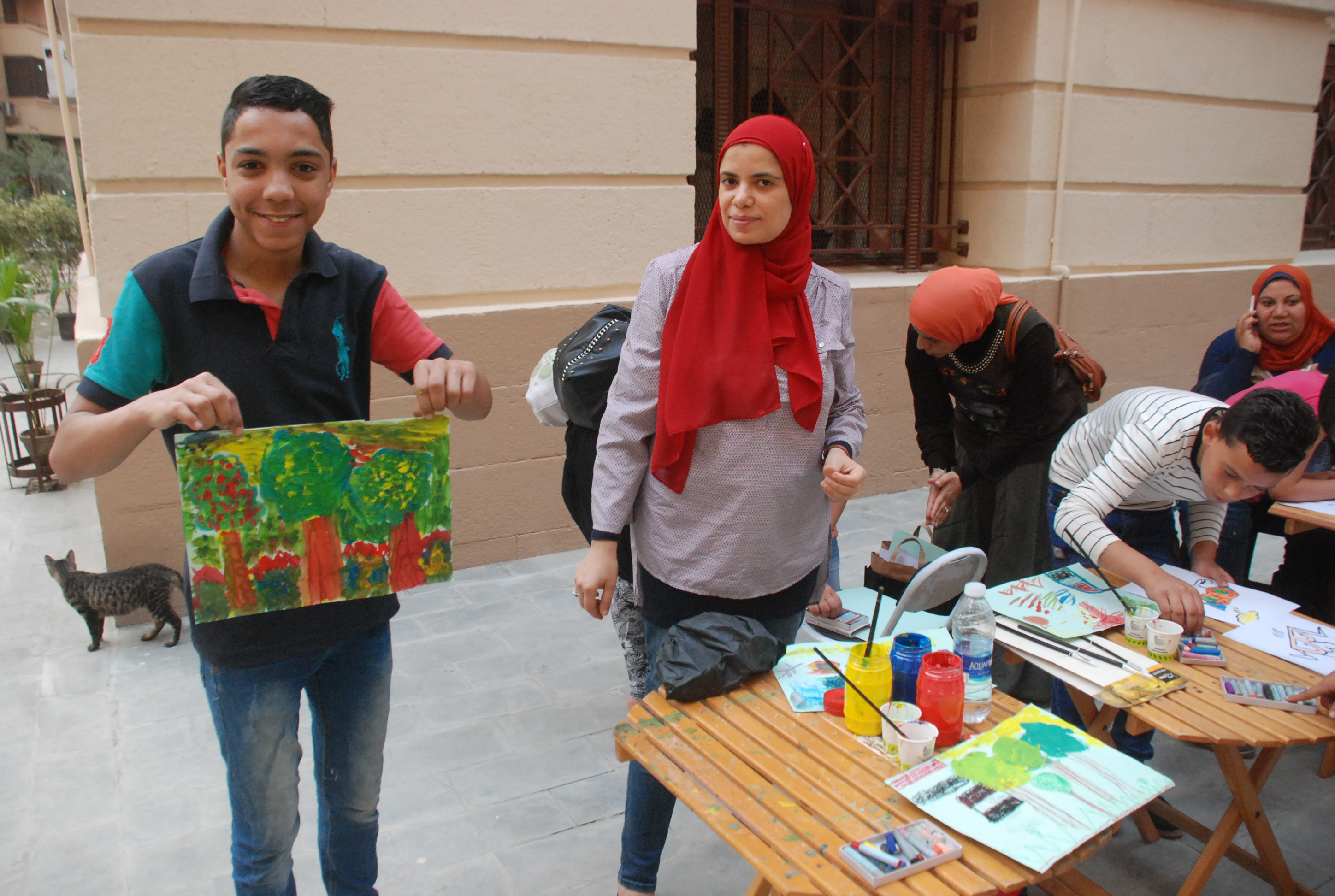 Participants at a workshop for children held in Al Sharifain Street in Cairo. (Amr Emam)