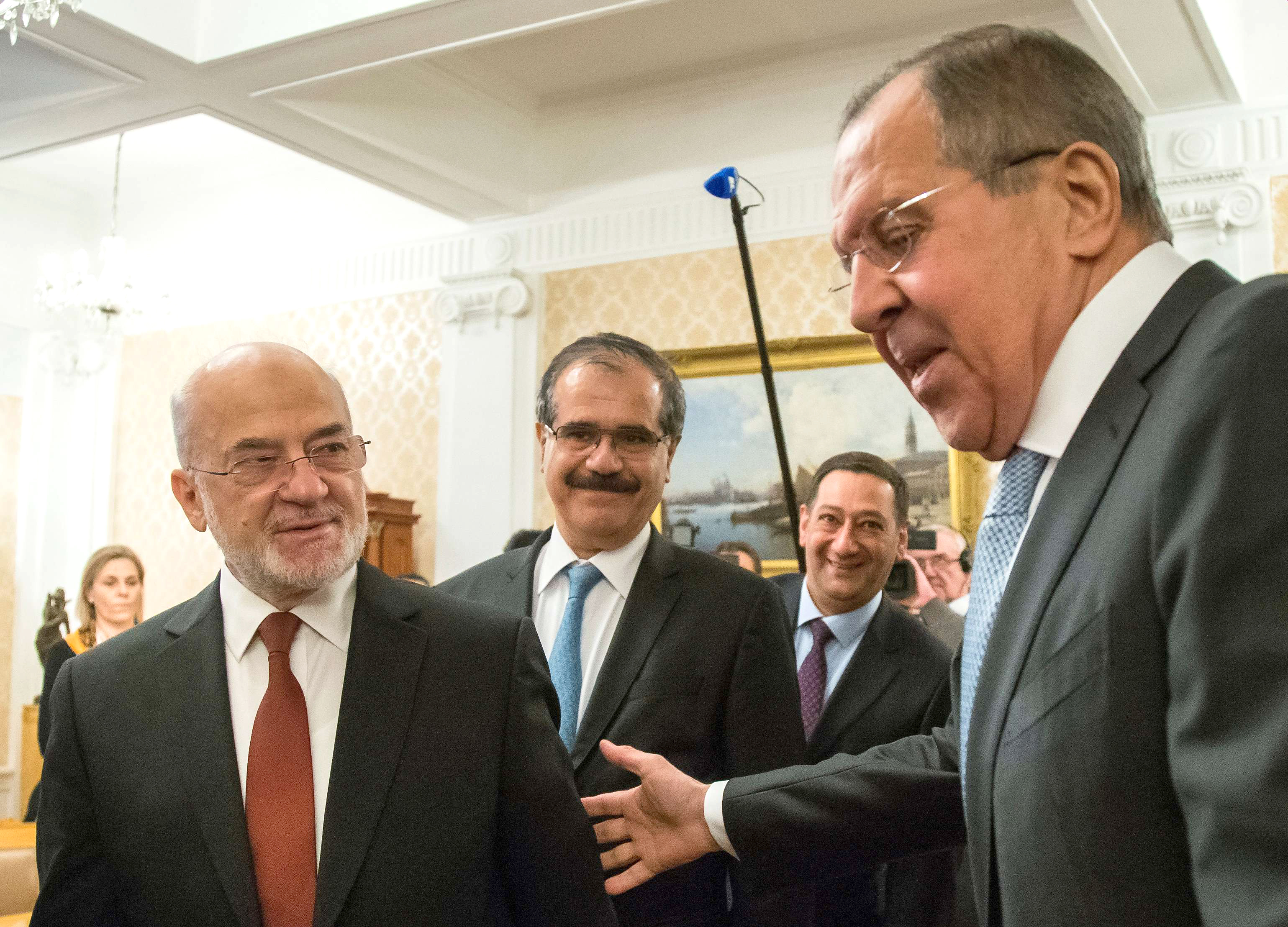 Russian Foreign Minister Sergei Lavrov (R) welcomes his Iraqi counterpart Ibrahim al-Jaafari during a meeting in Moscow, last February. (Reuters)