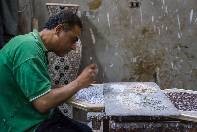 Khaled Khalida at his pearl and furniture workshop. (Karen Dabrowska)