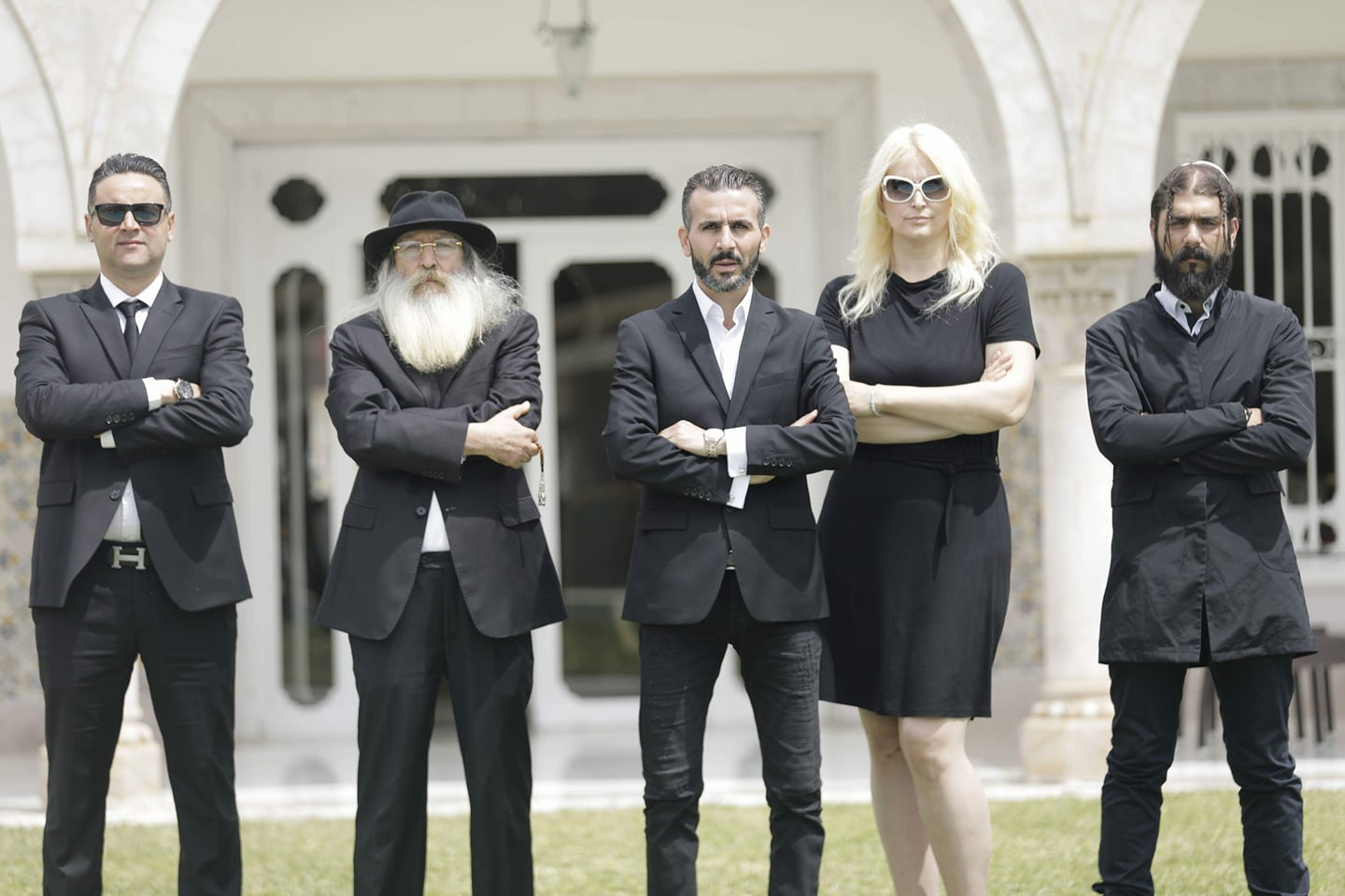 "Agents provocateurs? Walid Zribi (C), the producer of the hidden-camera television programme ""Shalom"" poses with cast members. (Walid Zribi)"