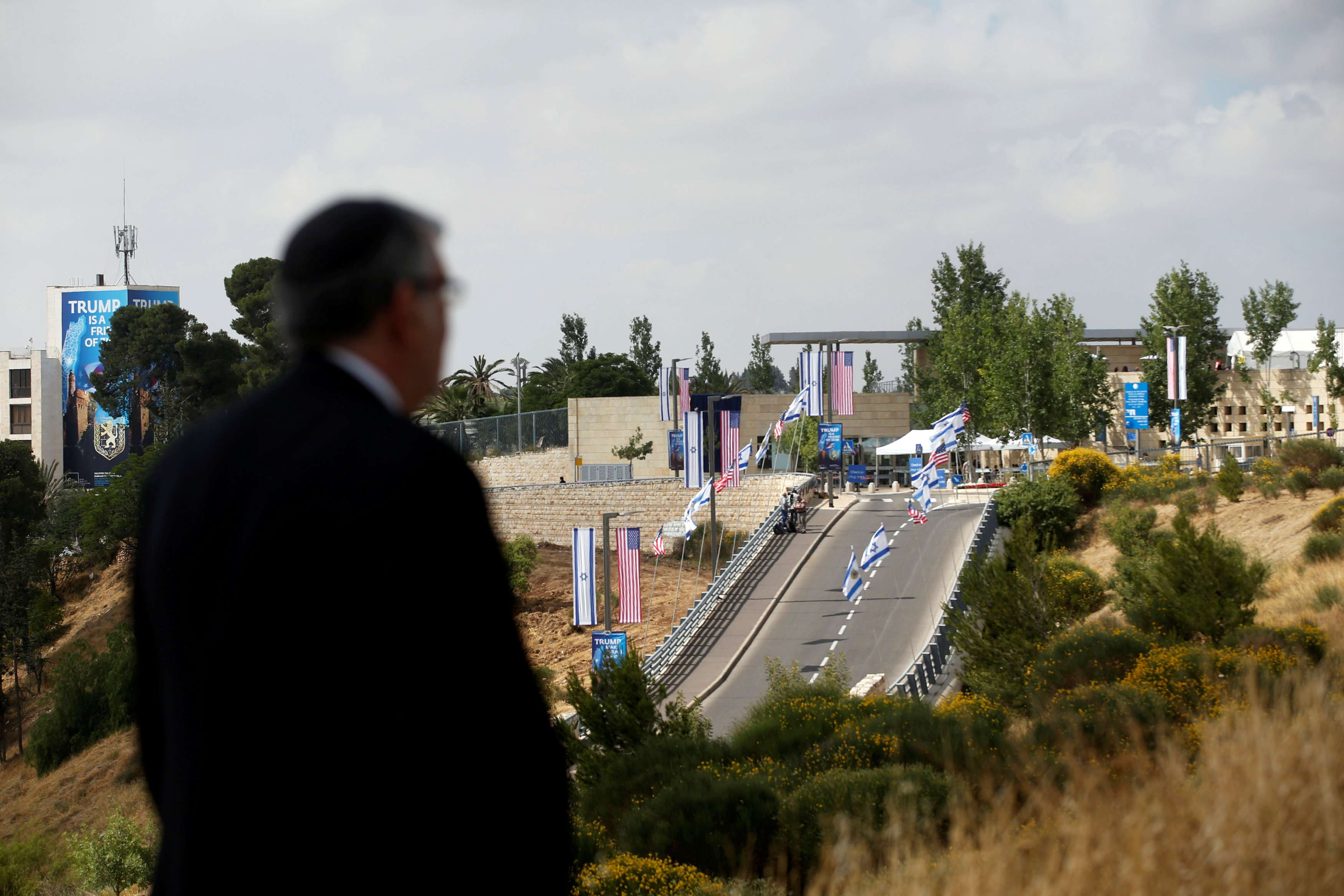 A man looks at the road leading to the new US embassy in Jerusalem, on May 14. (Reuters)