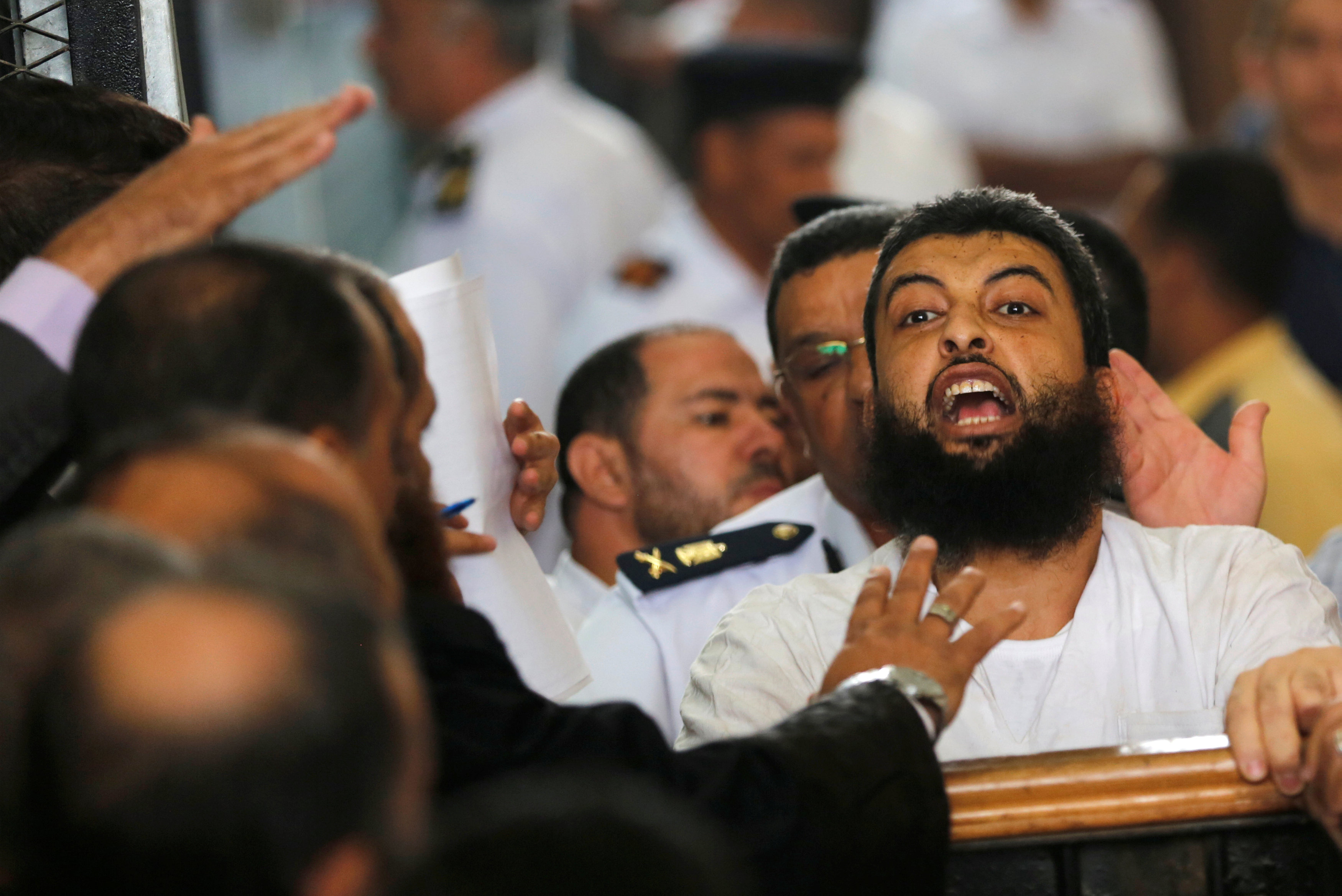 Dormant threat. A 2016 file picture shows a defendant, who is a member of the Muslim Brotherhood, during his trial at a court on the outskirts of Cairo.  (AFP)
