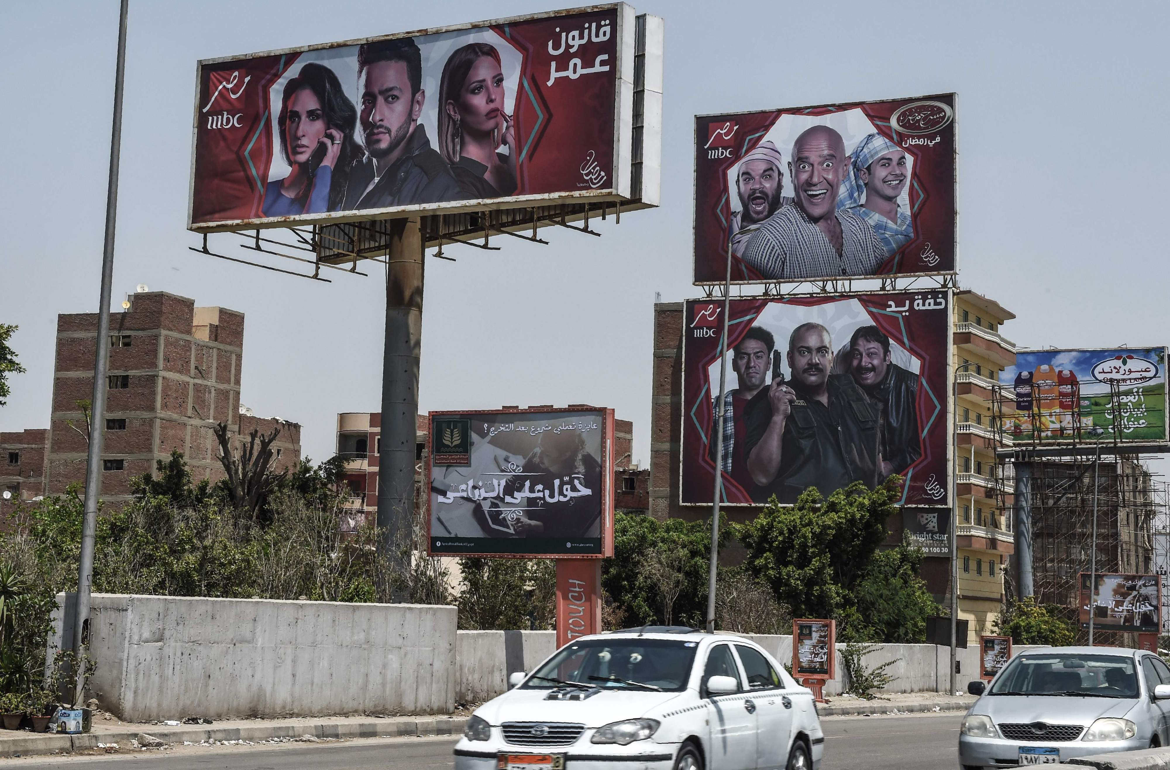 Billboards for TV Ramadan series are seen in the streets of Cairo, on May 15. (AFP)