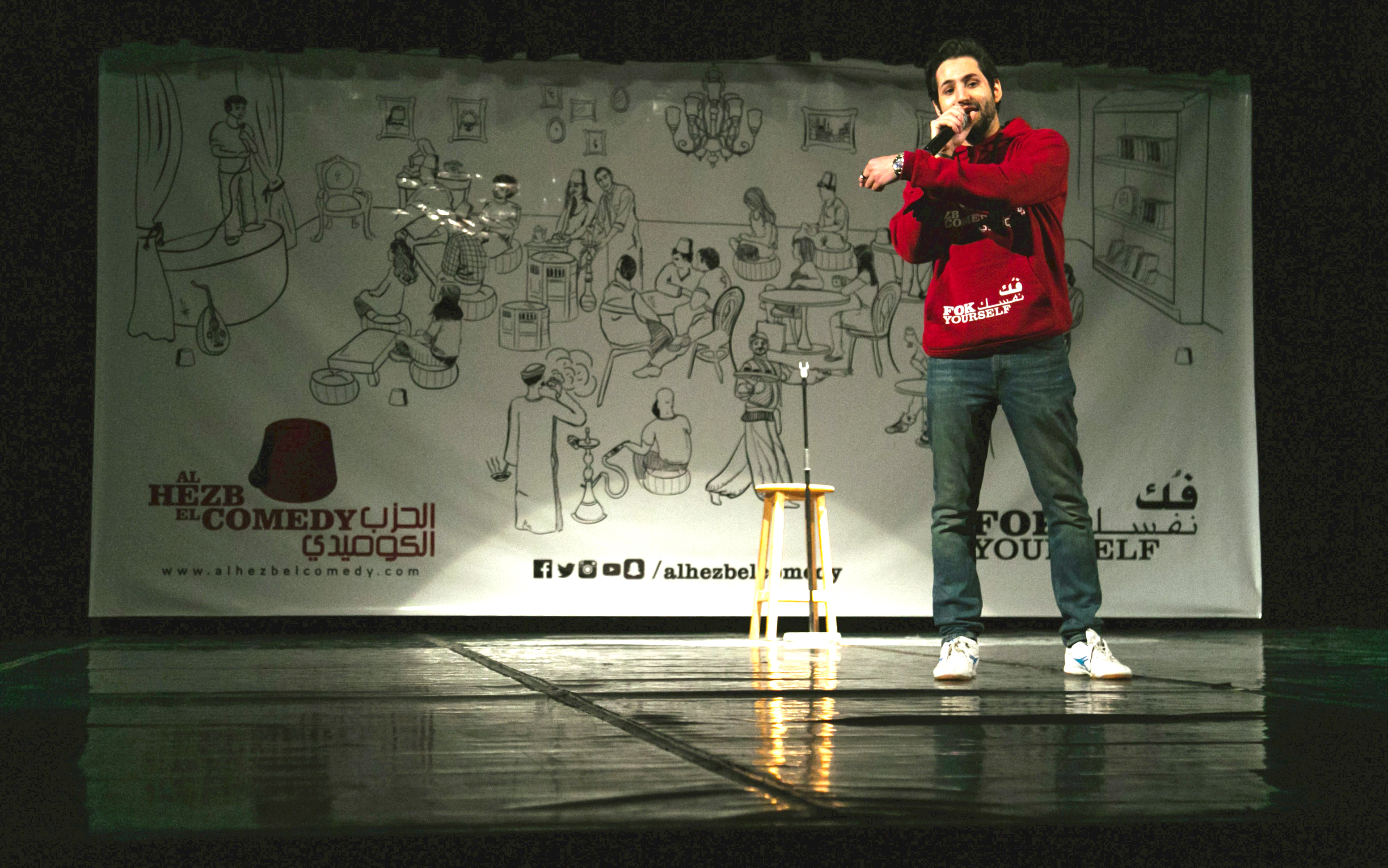 New artform. Stand-up comedian and founder of al-Hezb el-Comedy Hashem el-Garhy performs in Cairo.                                (Shahira el-Sayed)
