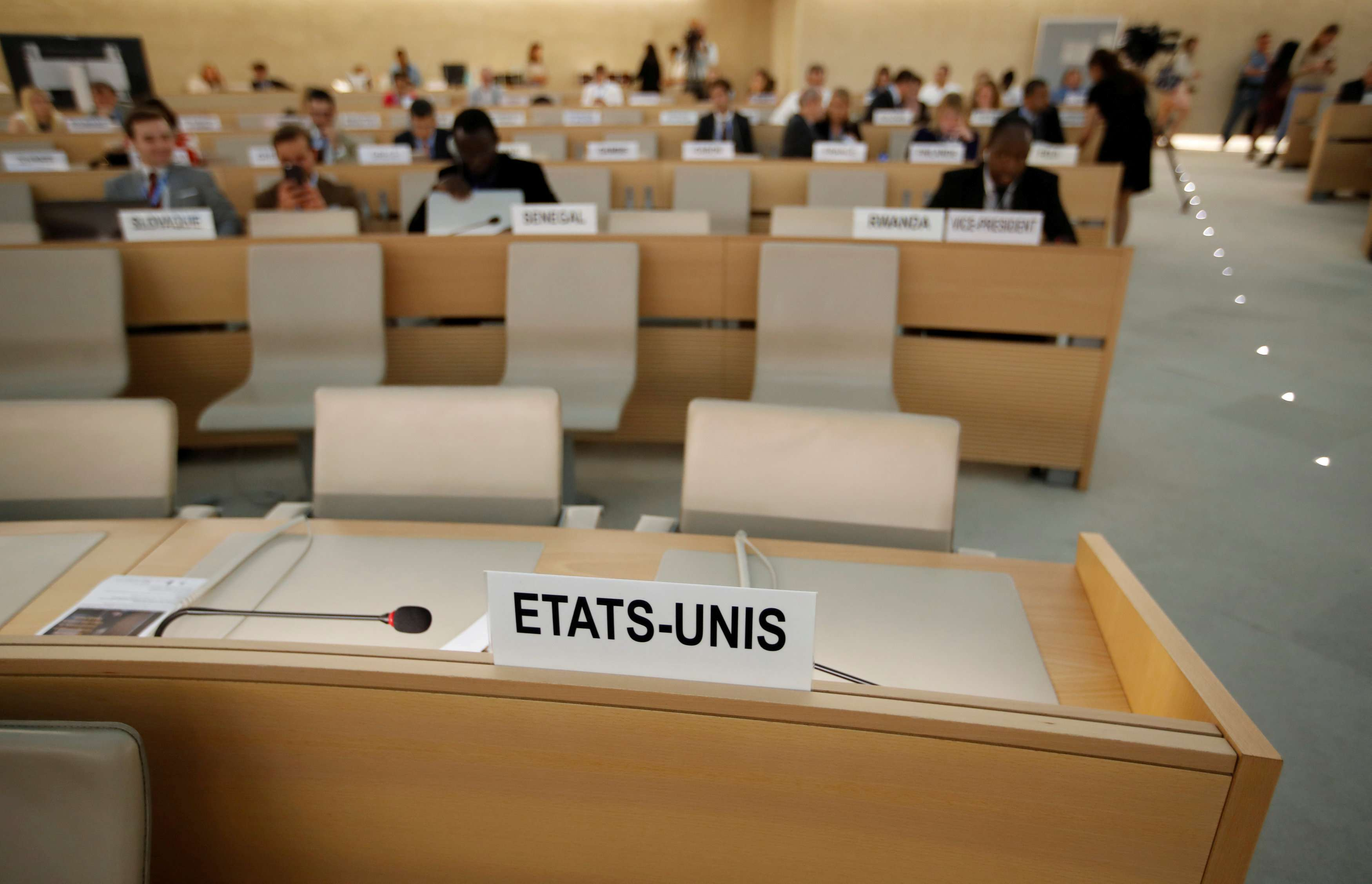 Without the superpower. Empty seats of the US delegation at the Human Rights Council at the United Nations in Geneva, on June 20. (Reuters)