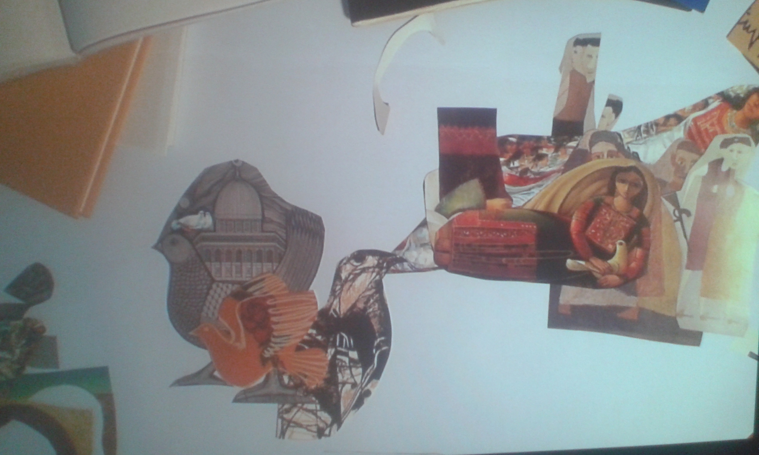 A collage created during Samah Hijawi's presentation in London's Mosaic Rooms. (Karen Dabrowska)