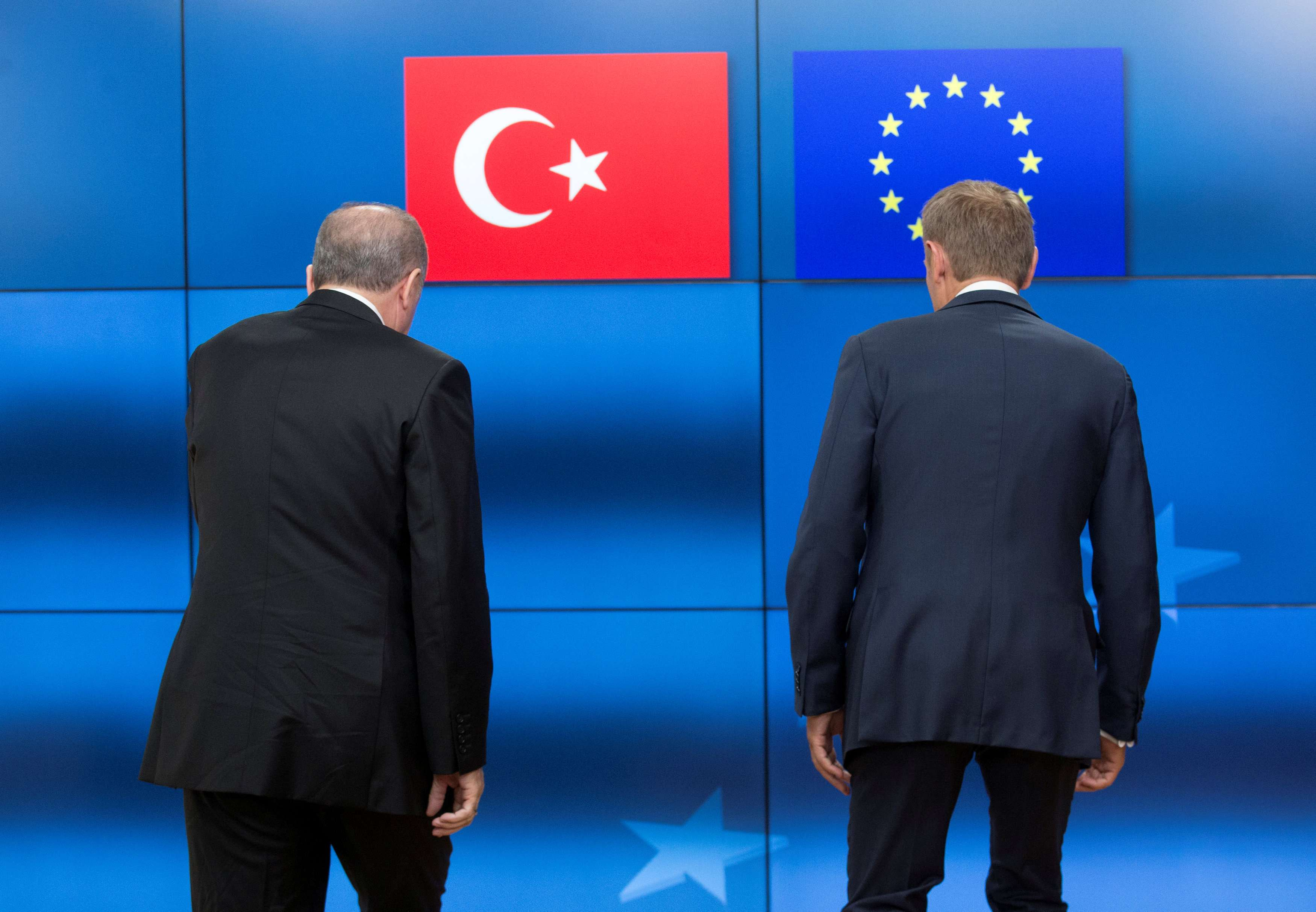 A 2017 file picture shows Turkish President Recep Tayyip Erdogan (L) and European Council President Donald Tusk before a meeting at the European Council in Brussels. (Reuters)