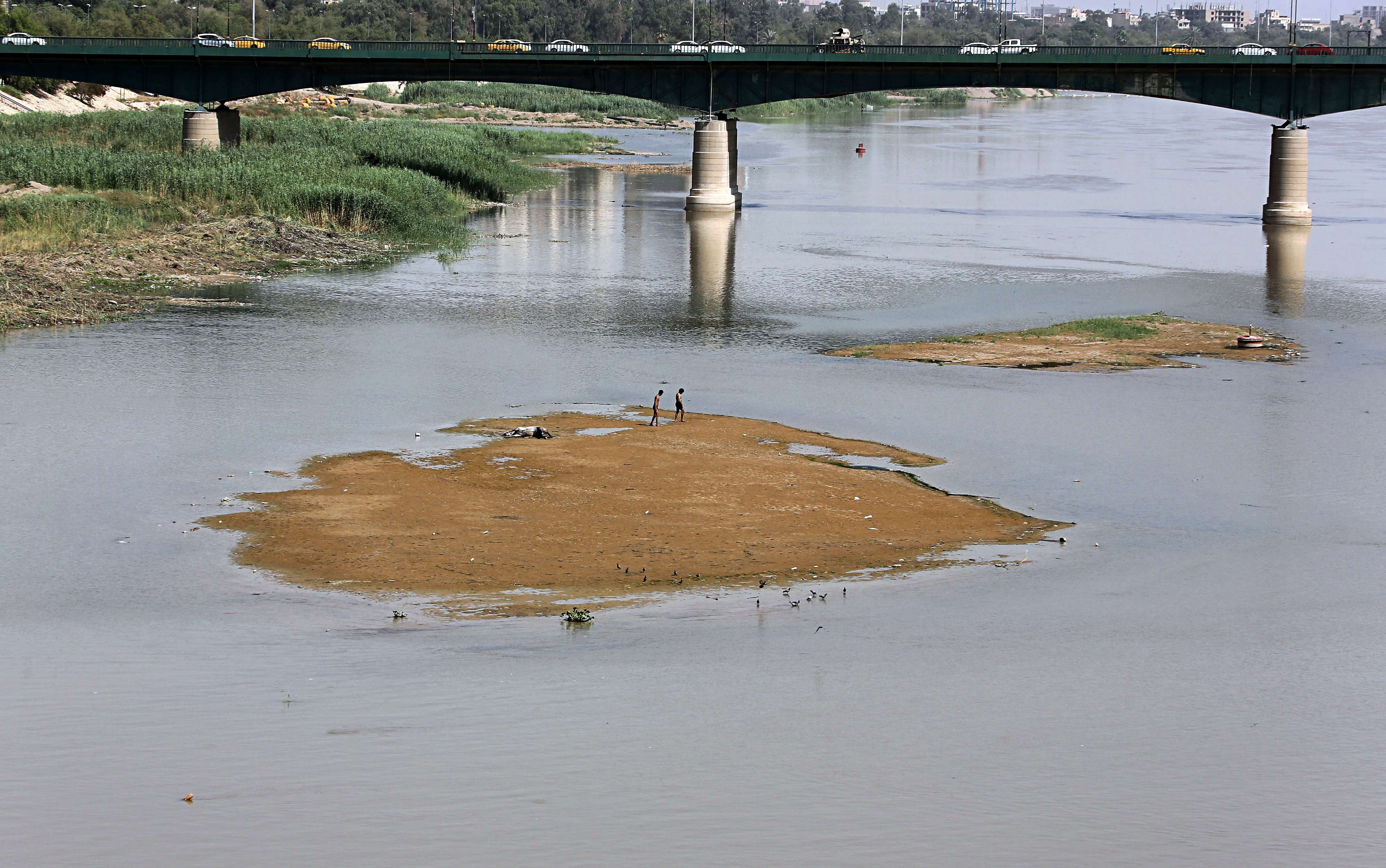 Lower water levels are seen on the Tigris River in Baghdad, on June 5. (AP)