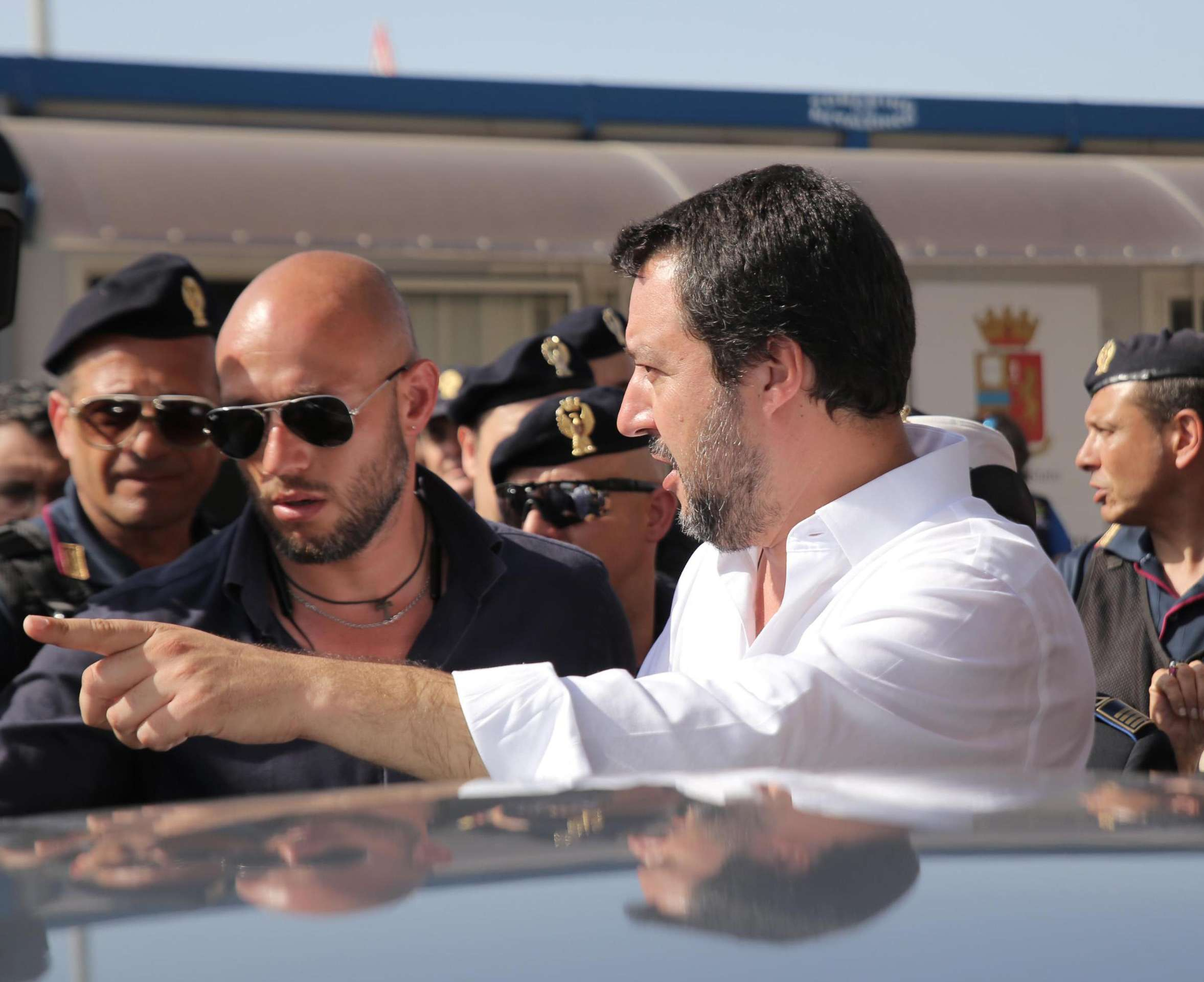 Tough line. Italy's Vice-Prime Minister and Minister of the Interior Matteo Salvini during a visit to a migrant reception centre in the southern Sicilian port of Pozzallo, on June 3. (AP)